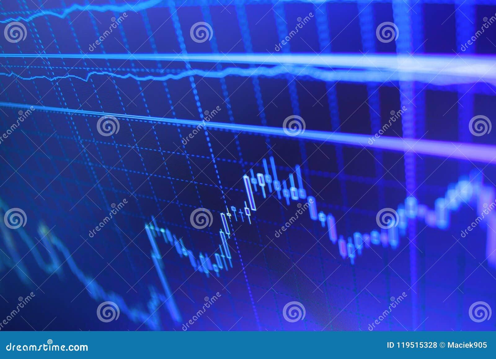 Världsnationalekonomigraf Stora data på LED panelen Att investera och begreppet vinner, och vinster med den urblekta ljusstaken k