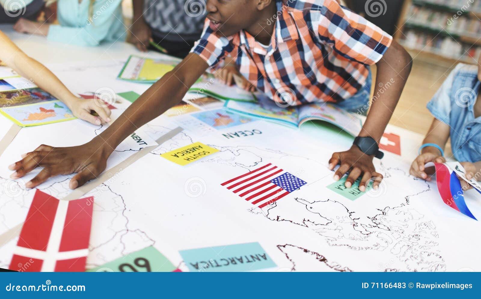 Världsomspännande utforskare Continent Country Concept för geografi