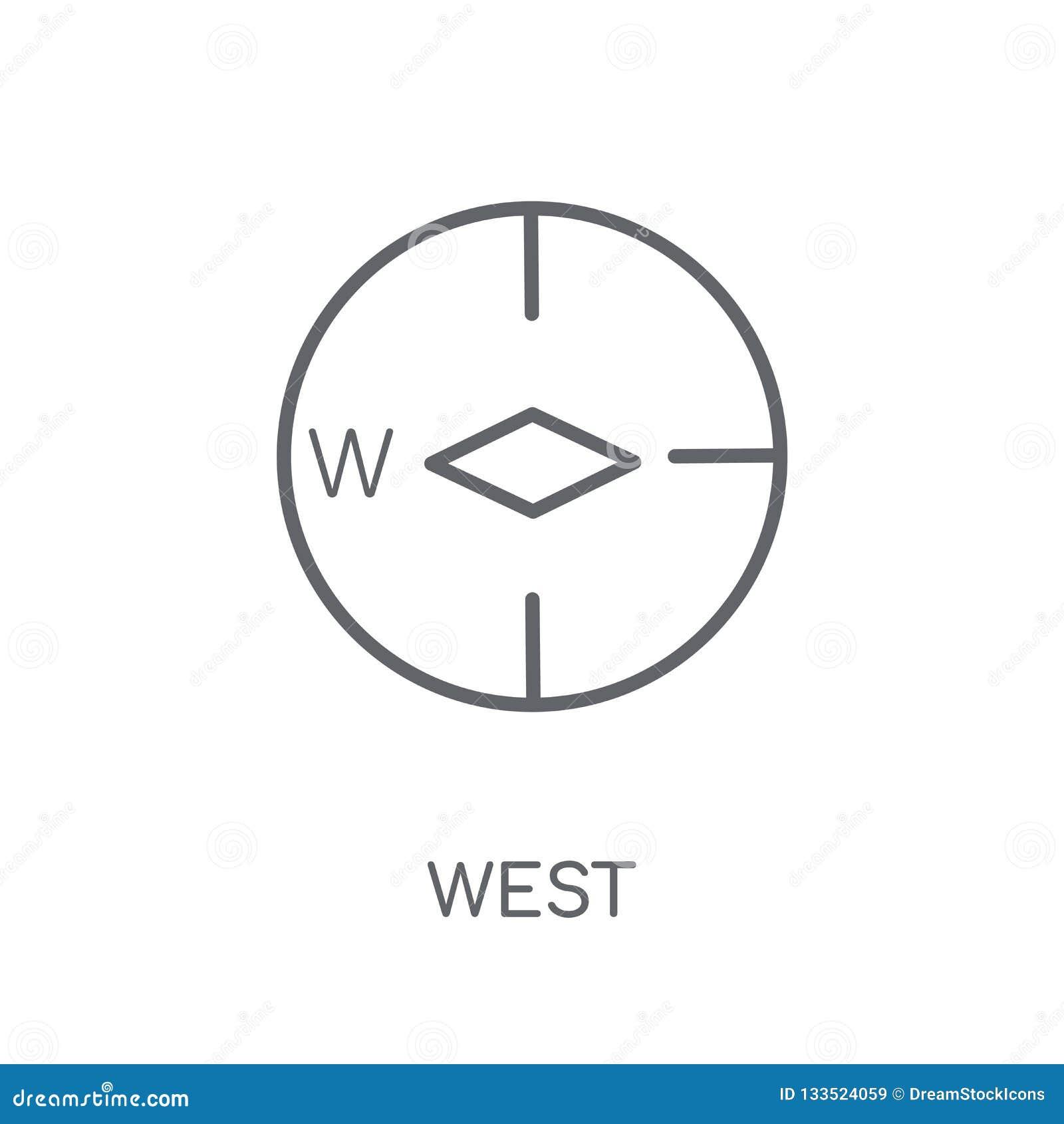 Västra linjär symbol Västra logobegrepp för modern översikt på vit baksida