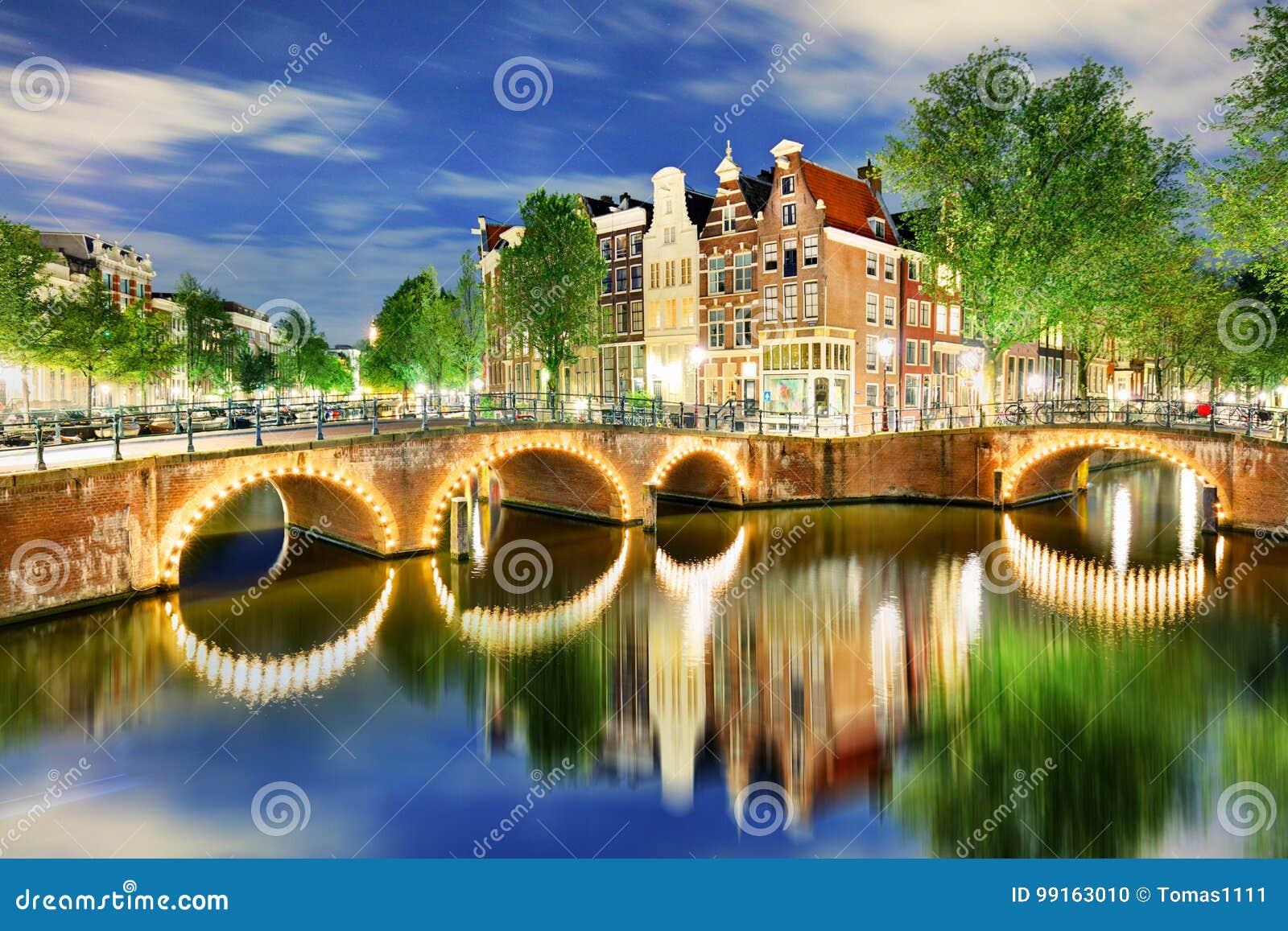 Västra sida för Amsterdam kanaler på skymning Natherlands, Europa