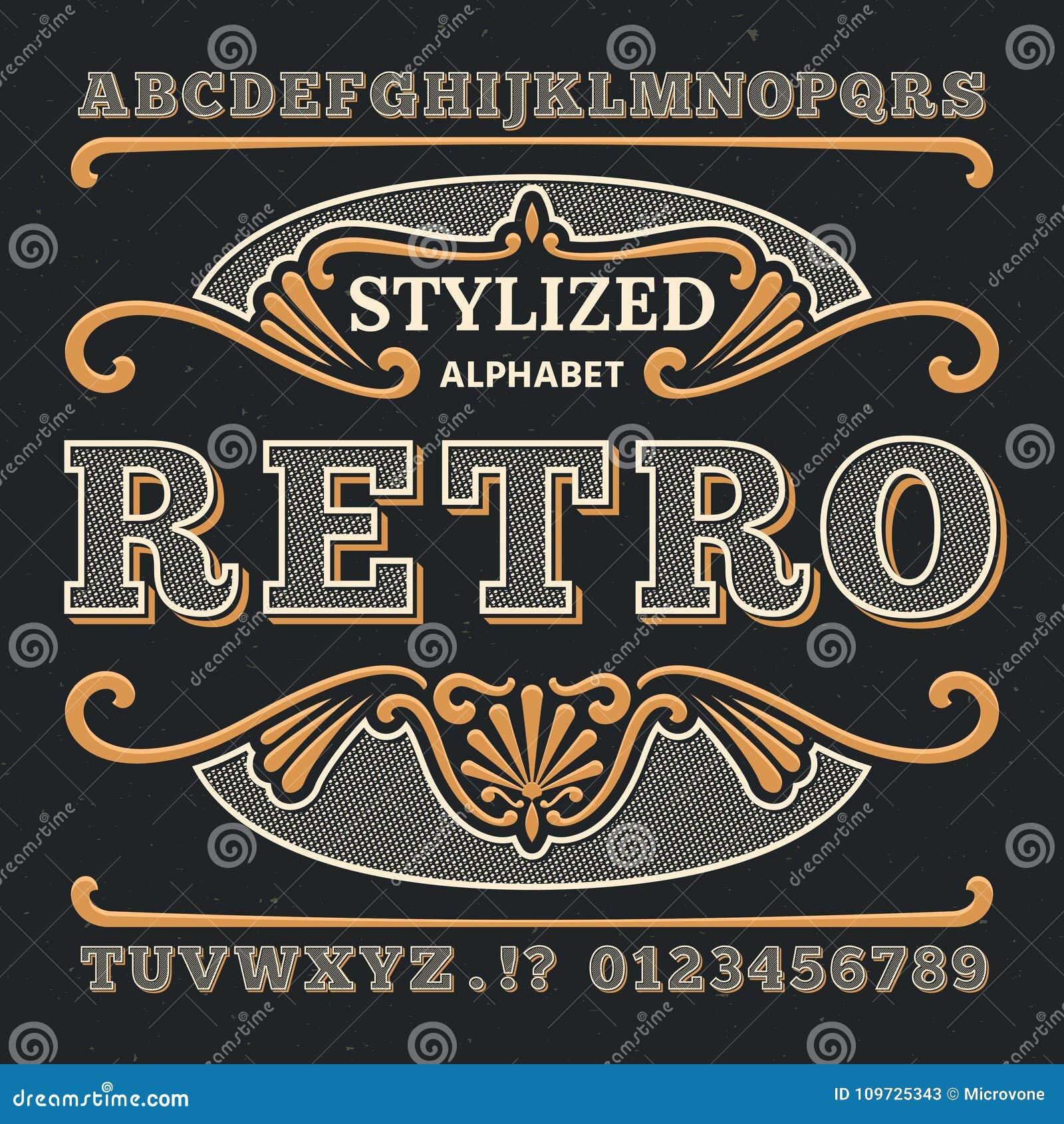 Västra typografi 3d för tappning Gotisk retro vektortyp Retro nummer och bokstäver