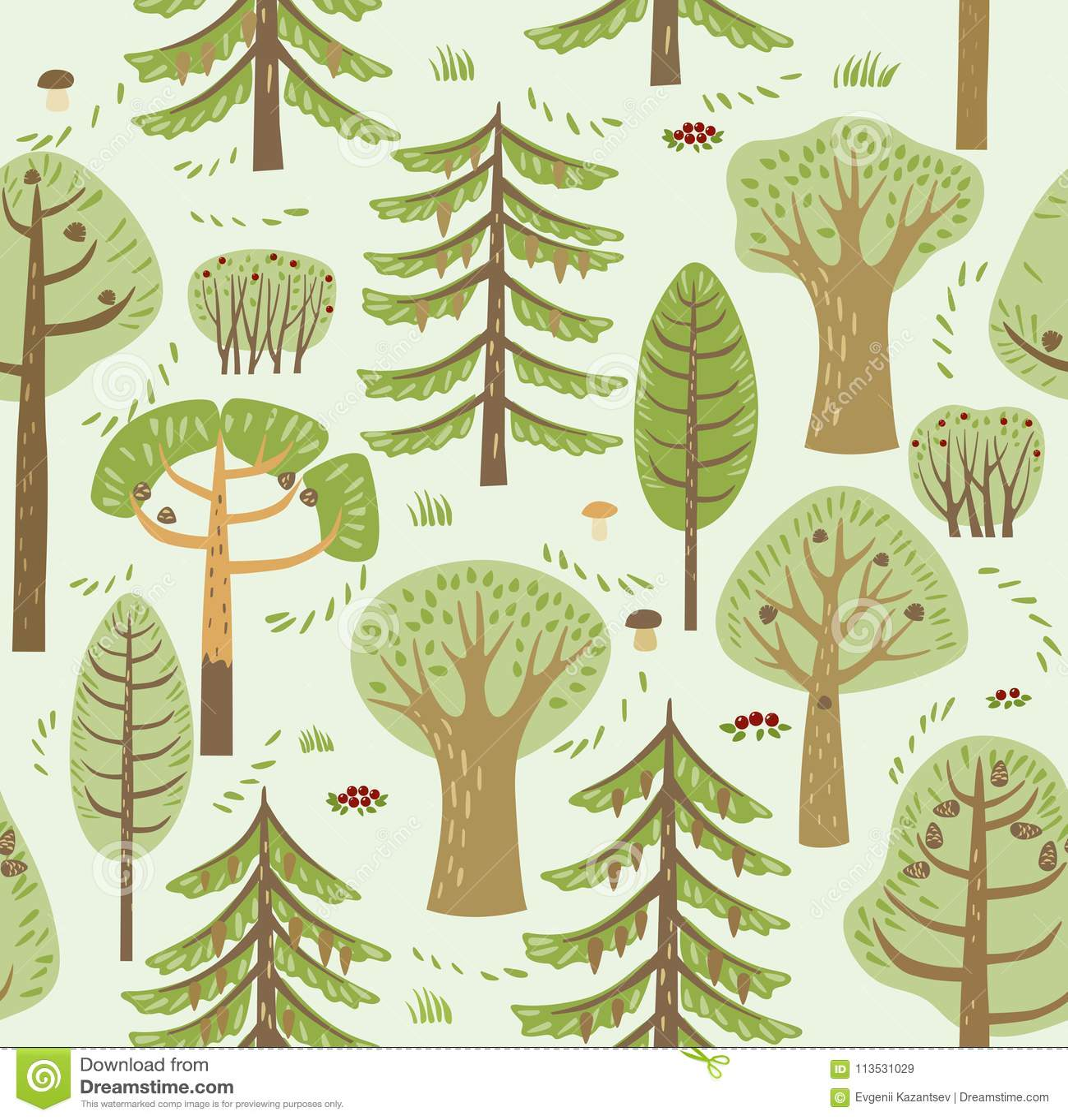 Växer barrträds- och lövfällande olika träd för sommarskog på en grön bakgrund Dem emellan champinjoner, bär och buskar S
