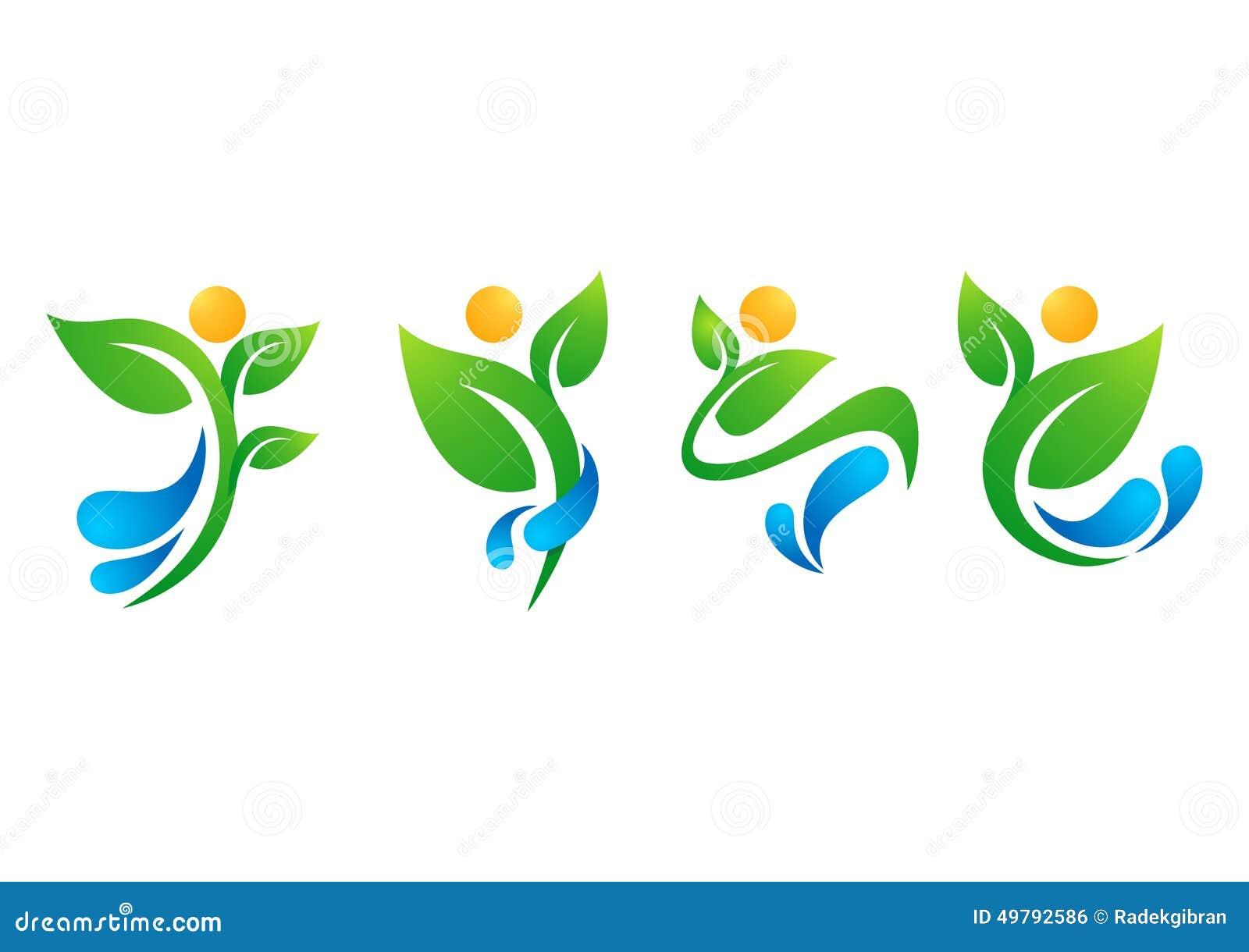 Växt folk, vatten, vår som är naturlig, logo, hälsa, sol, blad, botanik, ekologi, vektor för fastställd design för symbolsymbol