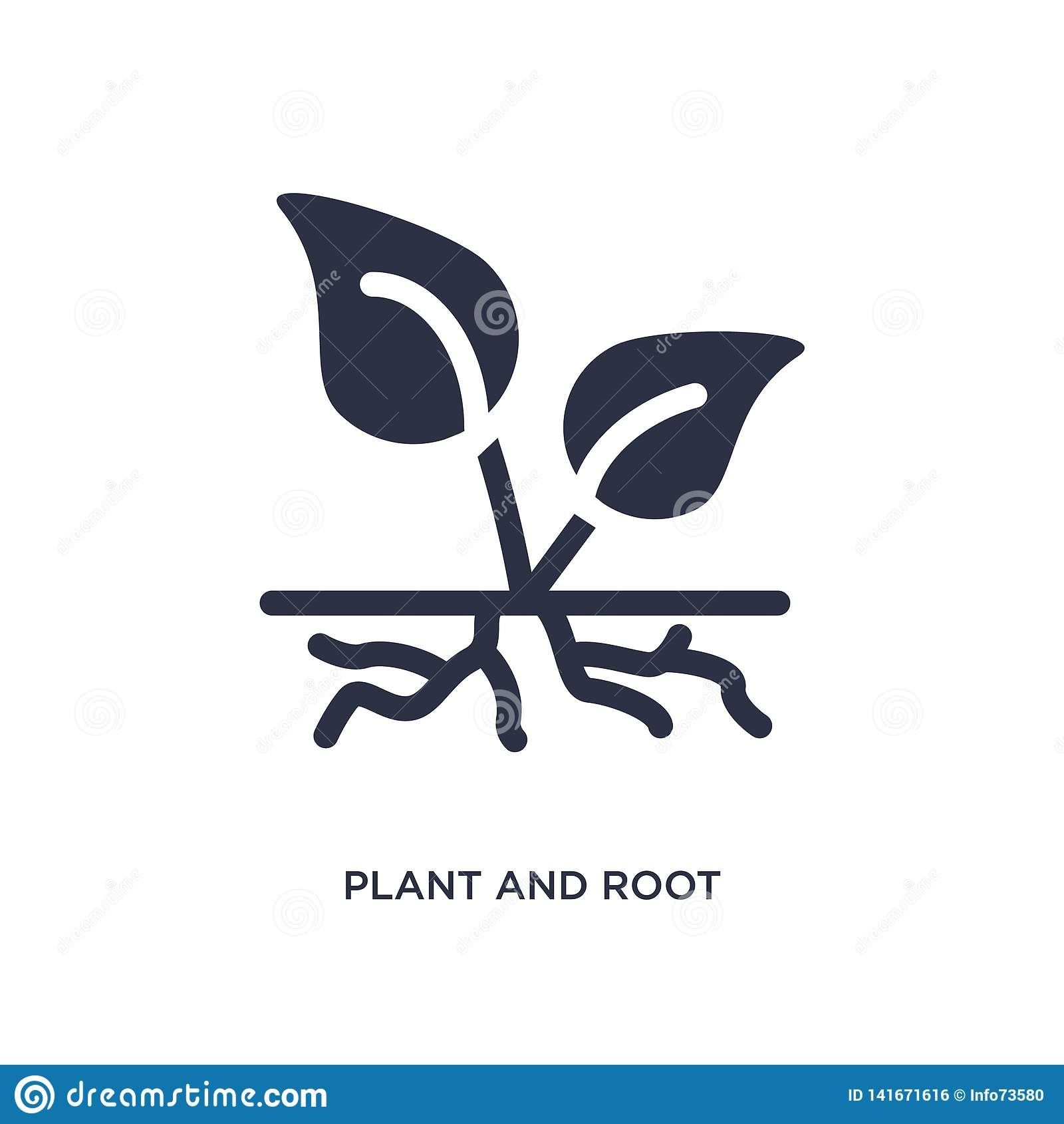 Växt och att rota symbolen på vit bakgrund Enkel beståndsdelillustration från ekologibegrepp