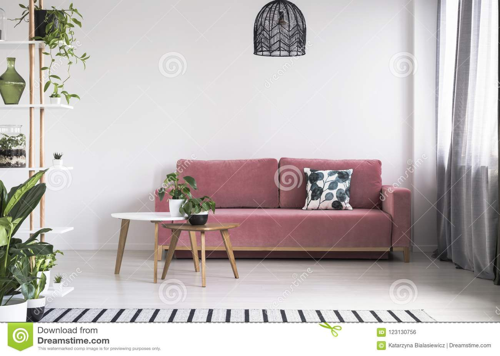 Växt på tabellen framme av den röda soffan i ljus vardagsruminre med lampan Verkligt foto