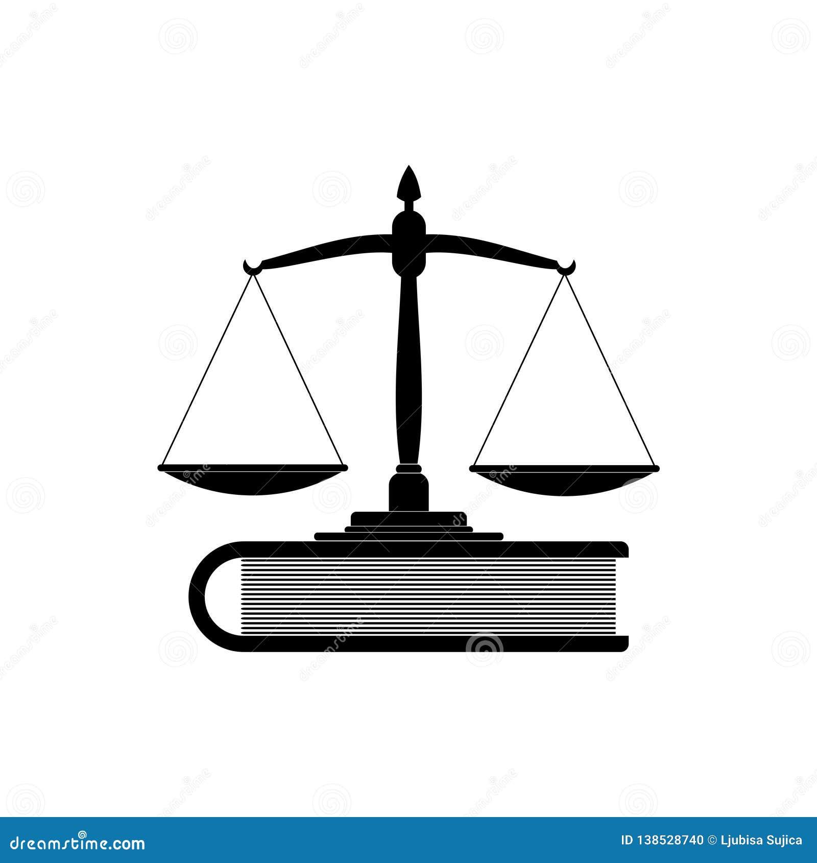 Våg av rättvisa och boksymbol eller logo