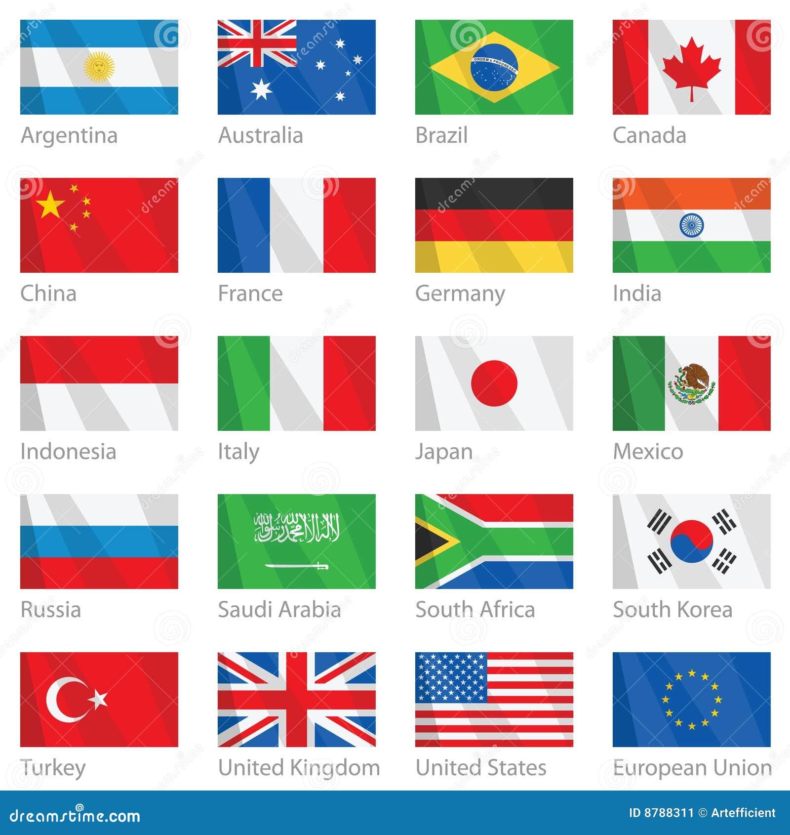 Våg för G för 20 landsflaggor