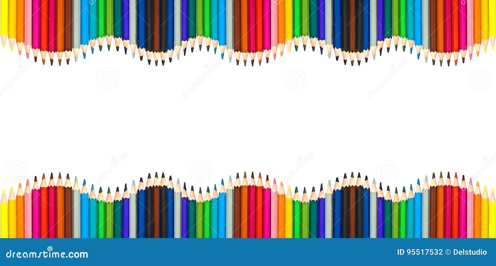 Vågor av färgrika träblyertspennor som tillbaka isoleras på vit, tom ram till det skola-, konst- och kreativitetbegreppet
