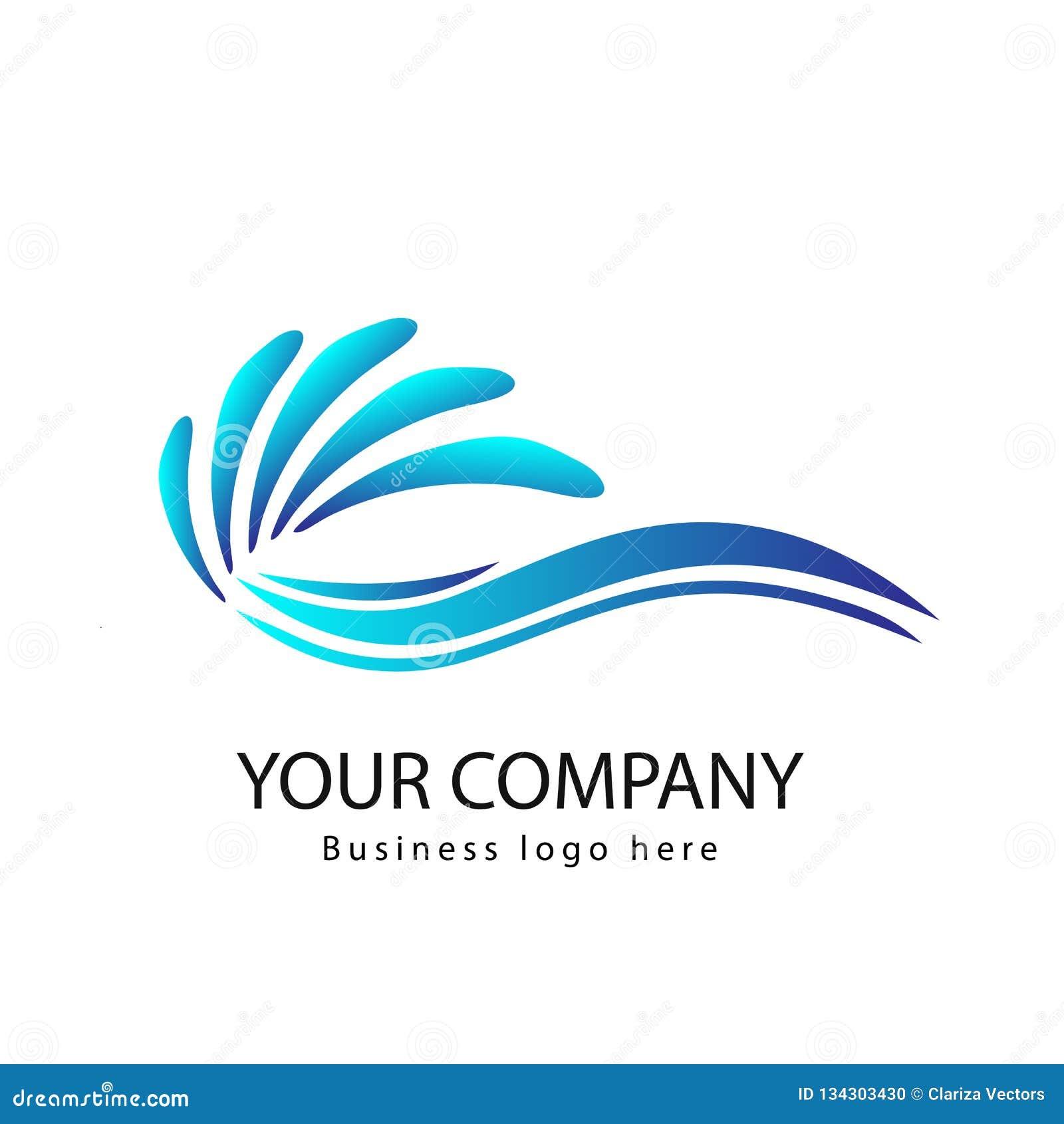 Vågor av havs- eller havvågor, blått vatten, färgstänk och kuling, vektor Kurva logo