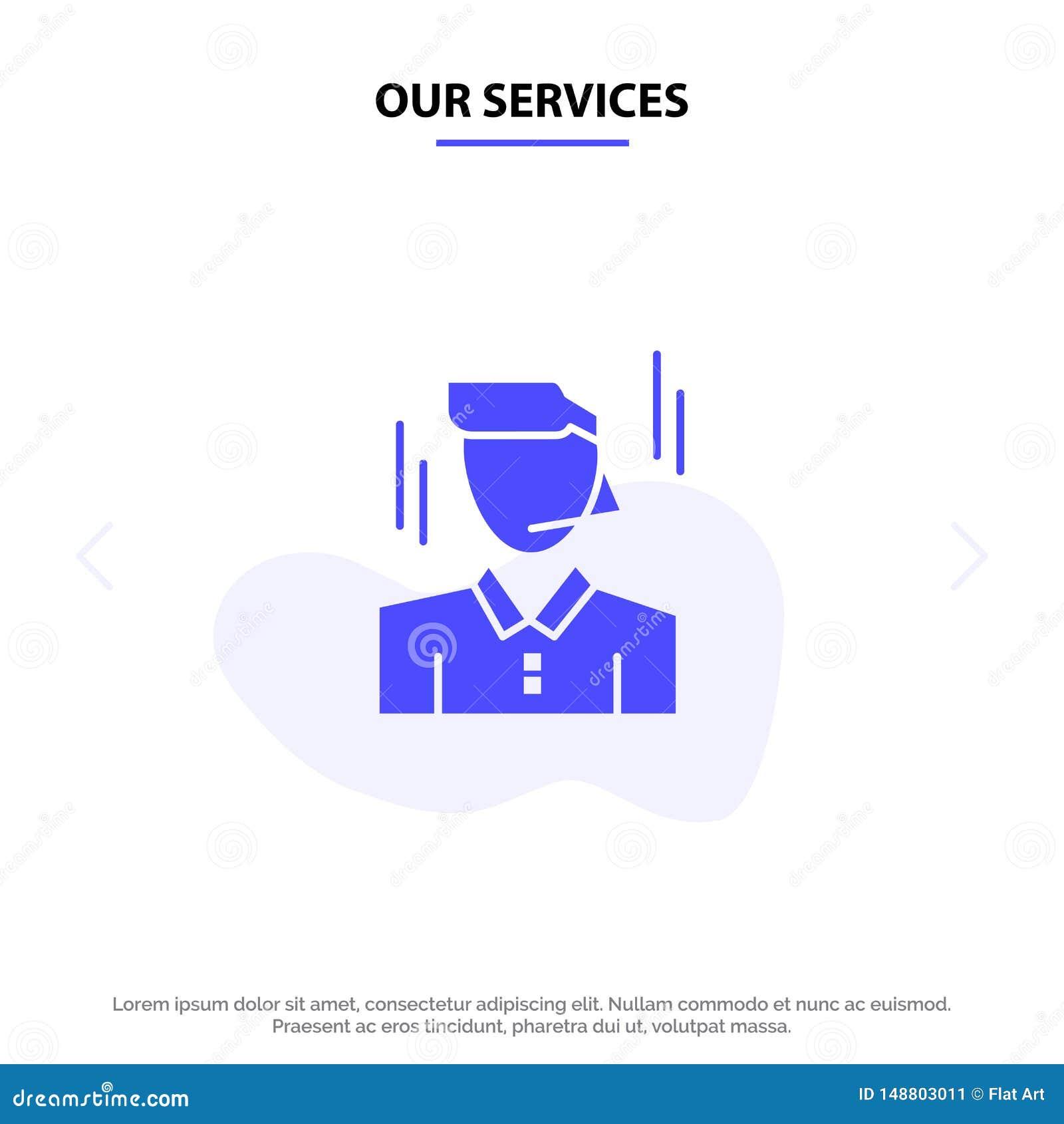 Vår service affärsman, chef, arbetare, för skårasymbol för man fast mall för kort för rengöringsduk