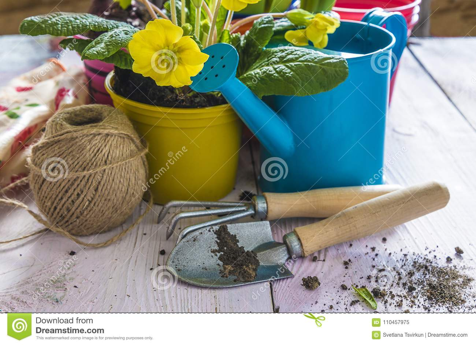 Vår som arbeta i trädgården sammansättning med gula blommor i gul kruka,