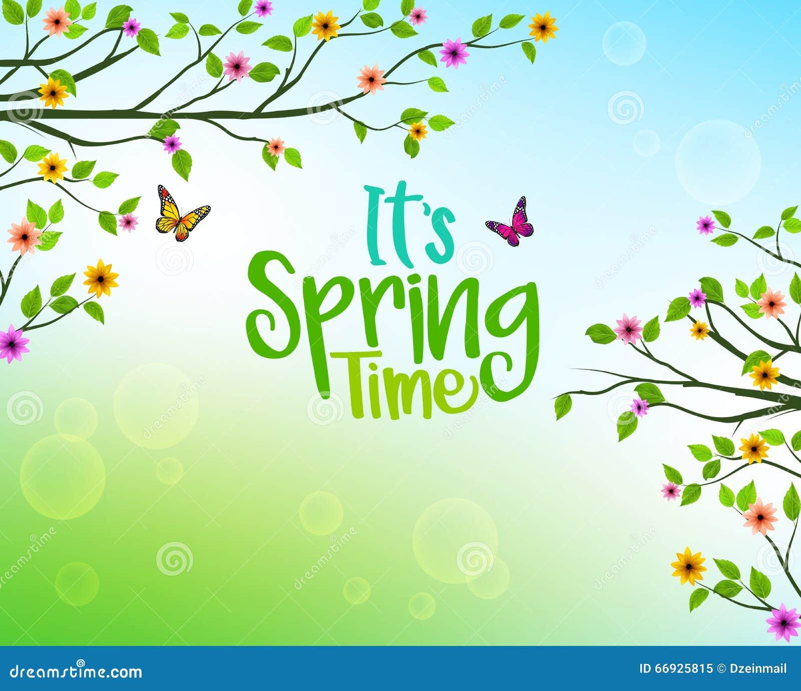 Vårbakgrund av träd och färgrika blomma- och växasidor