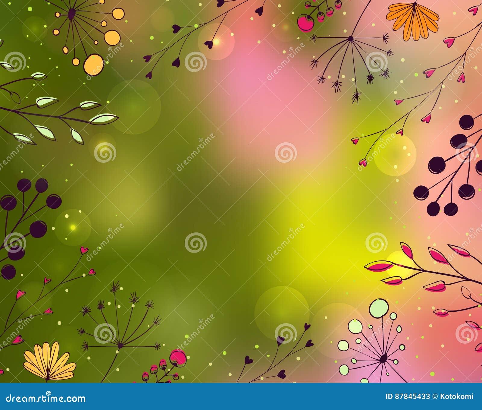Vårbakgrund med den drog handen blommar och förgrena sig på suddig gräsplan och den rosa bakgrunden Naturvektorram