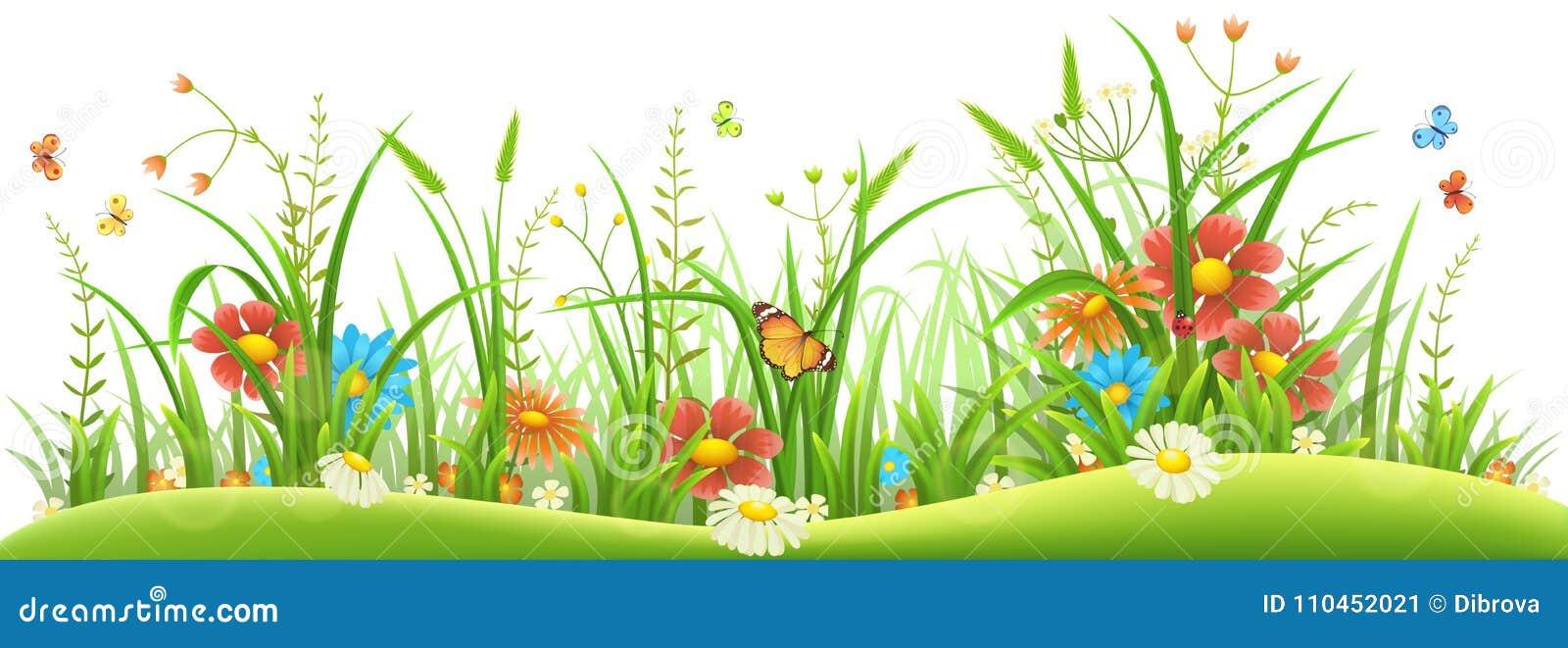 Vårblommor och gräs