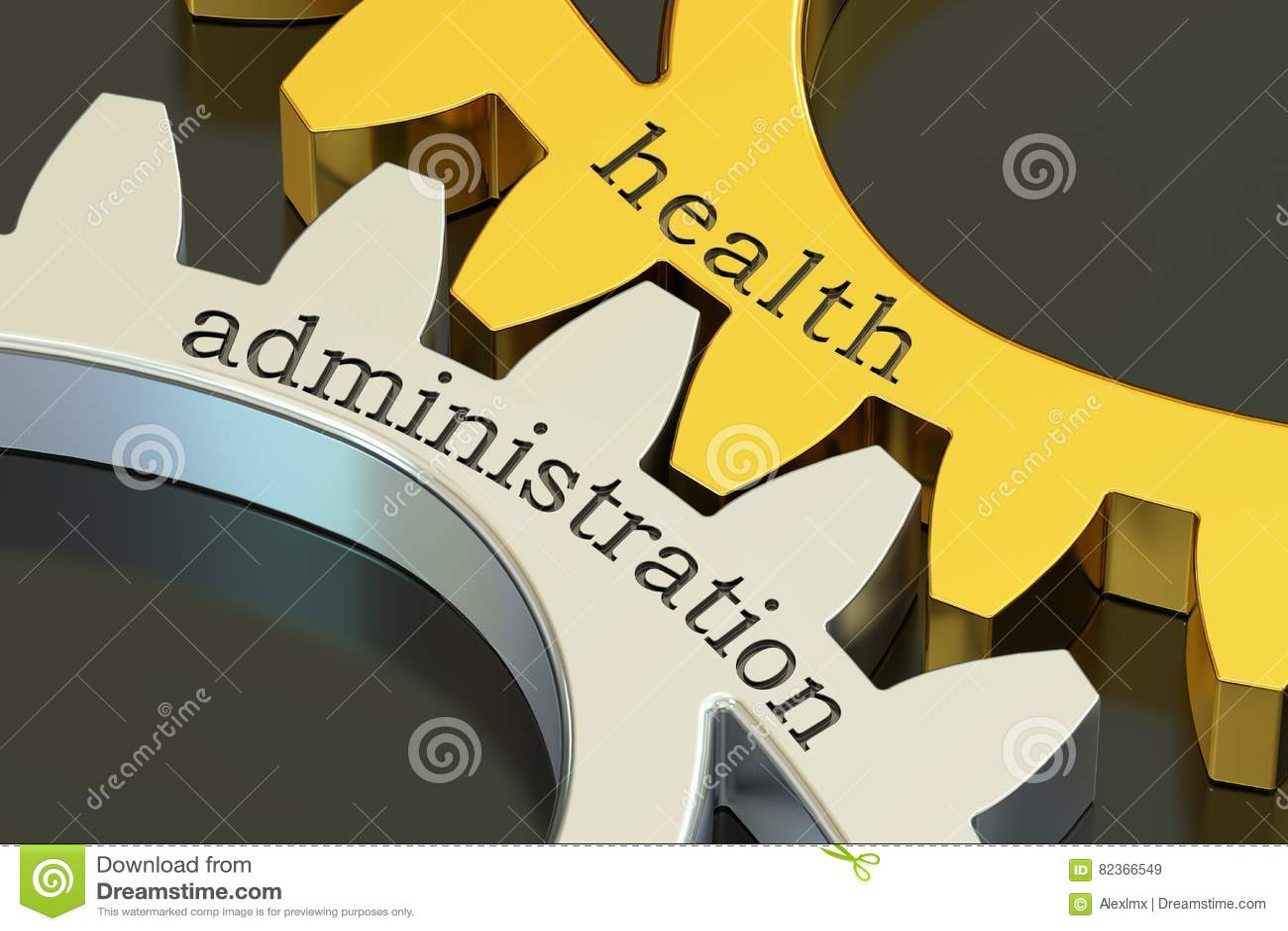 Vård- administration, begrepp på kugghjulen, tolkning 3D