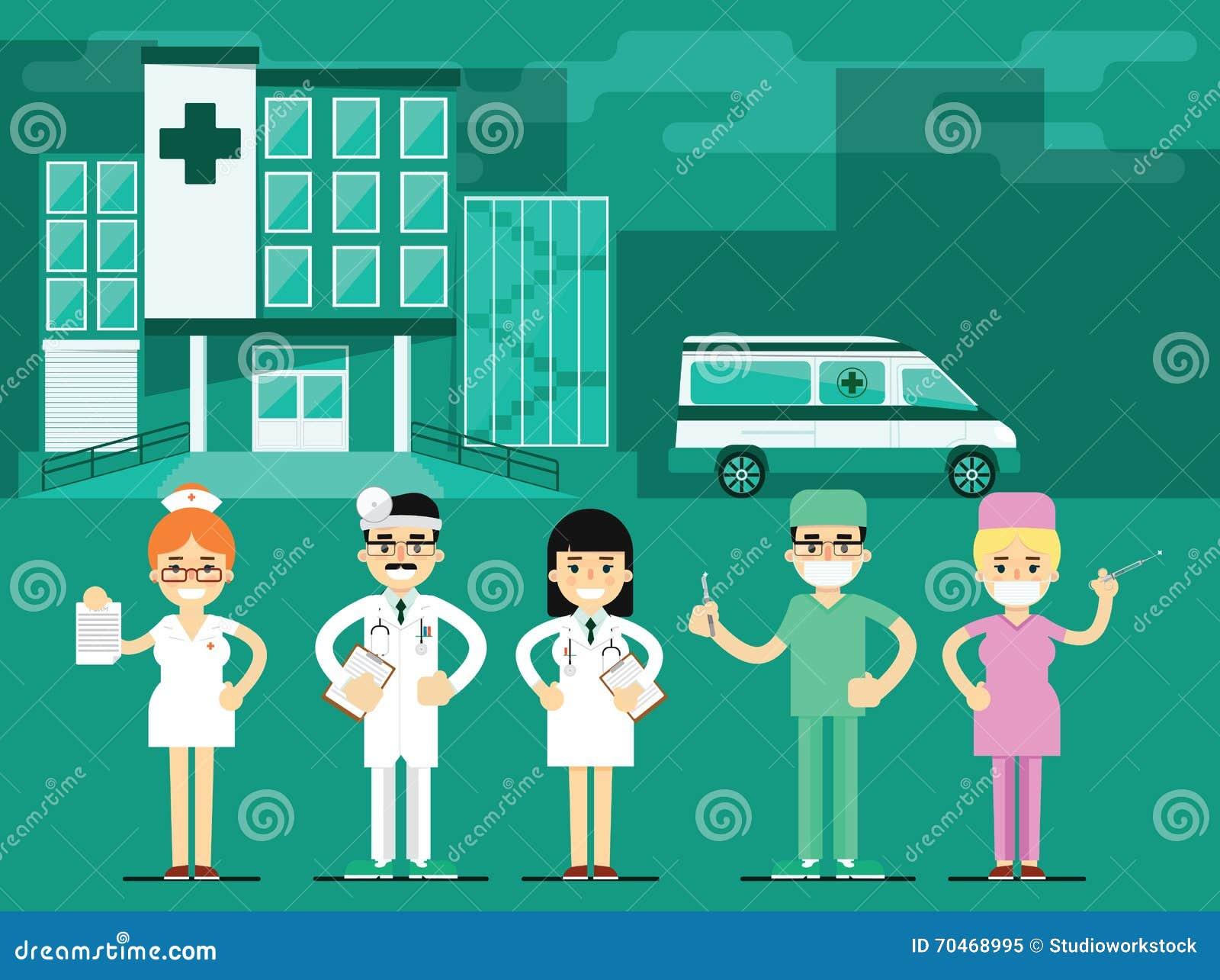 Vård- arbetare i sjukhusbakgrunden, vektor
