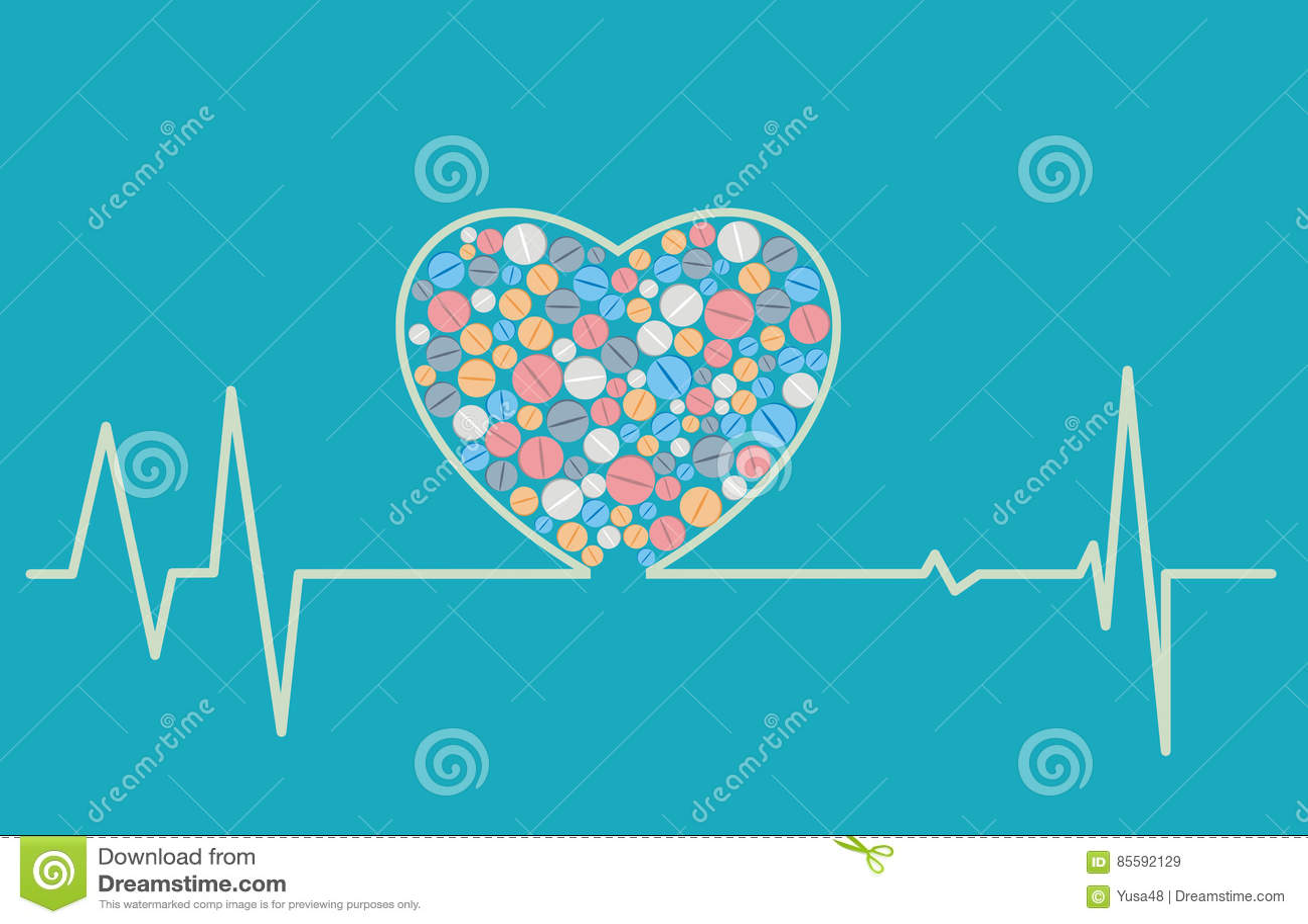 Vård- begrepp - en hjärta formad kardiogram inkluderar minnestavlor
