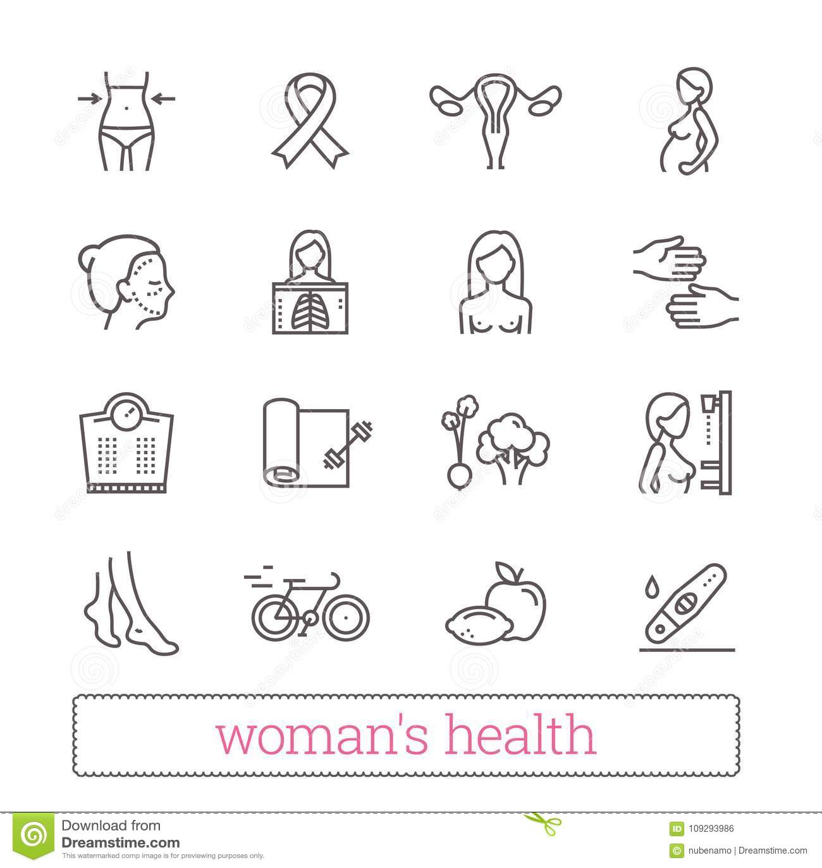 Vård- tunn linje symboler för kvinna` s Medicin kvinnor skönhet, den aktiva livsstilen som är sund bantar, bröstcancermedvetenhet