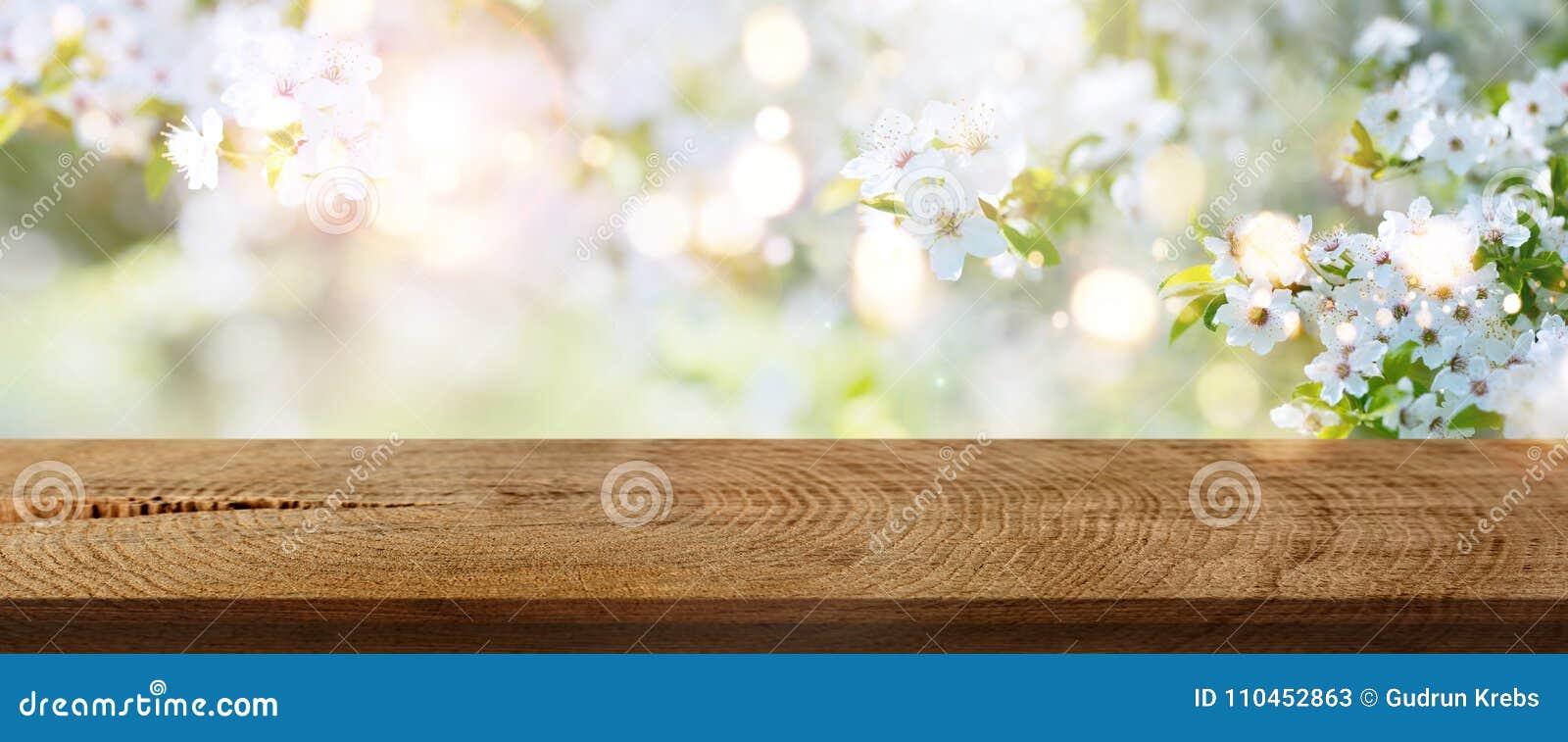 Våren blommar i en parkera med den lantliga trätabellen