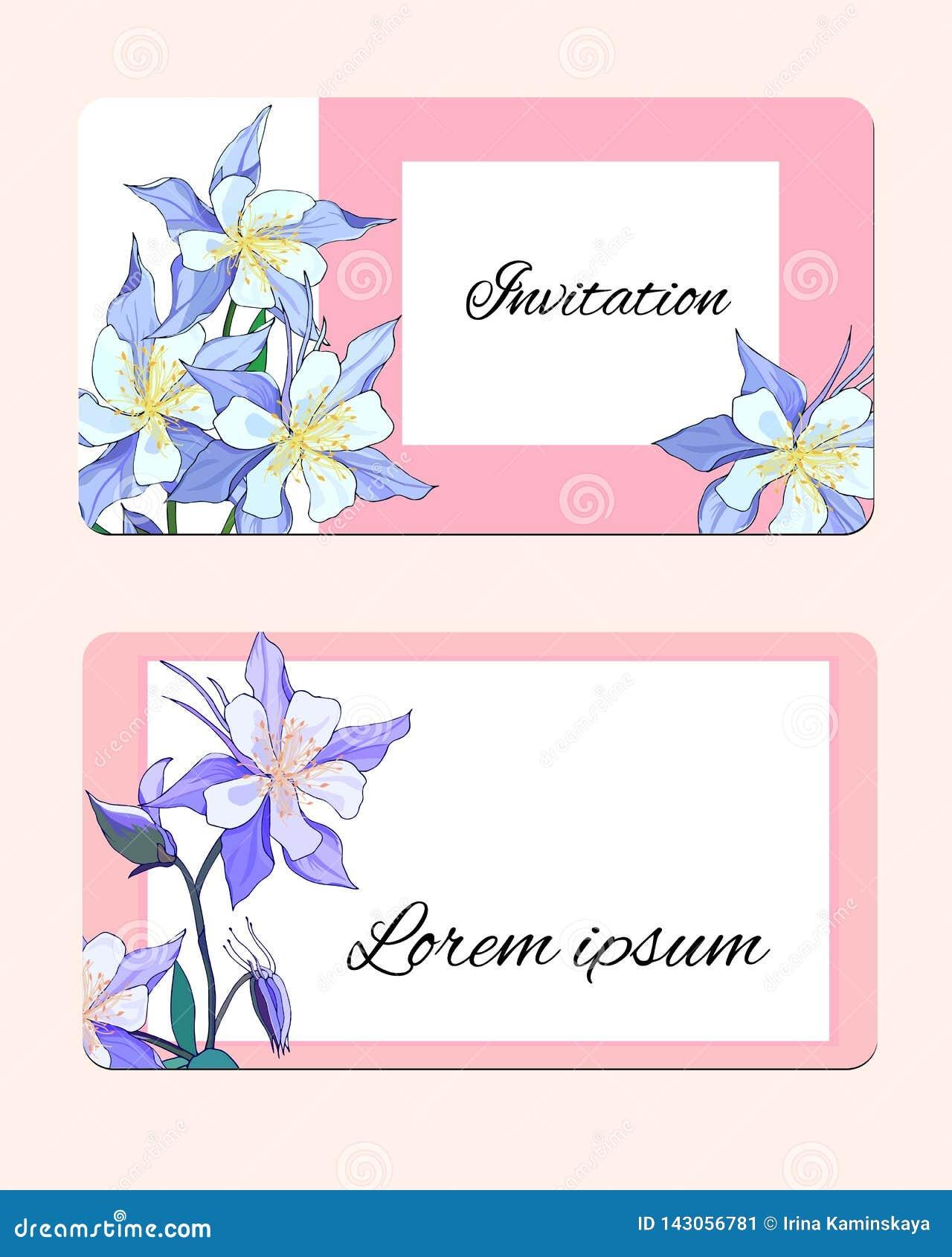 Vårkort med delikata blommor Vektorillustration av rosa och vita blommor