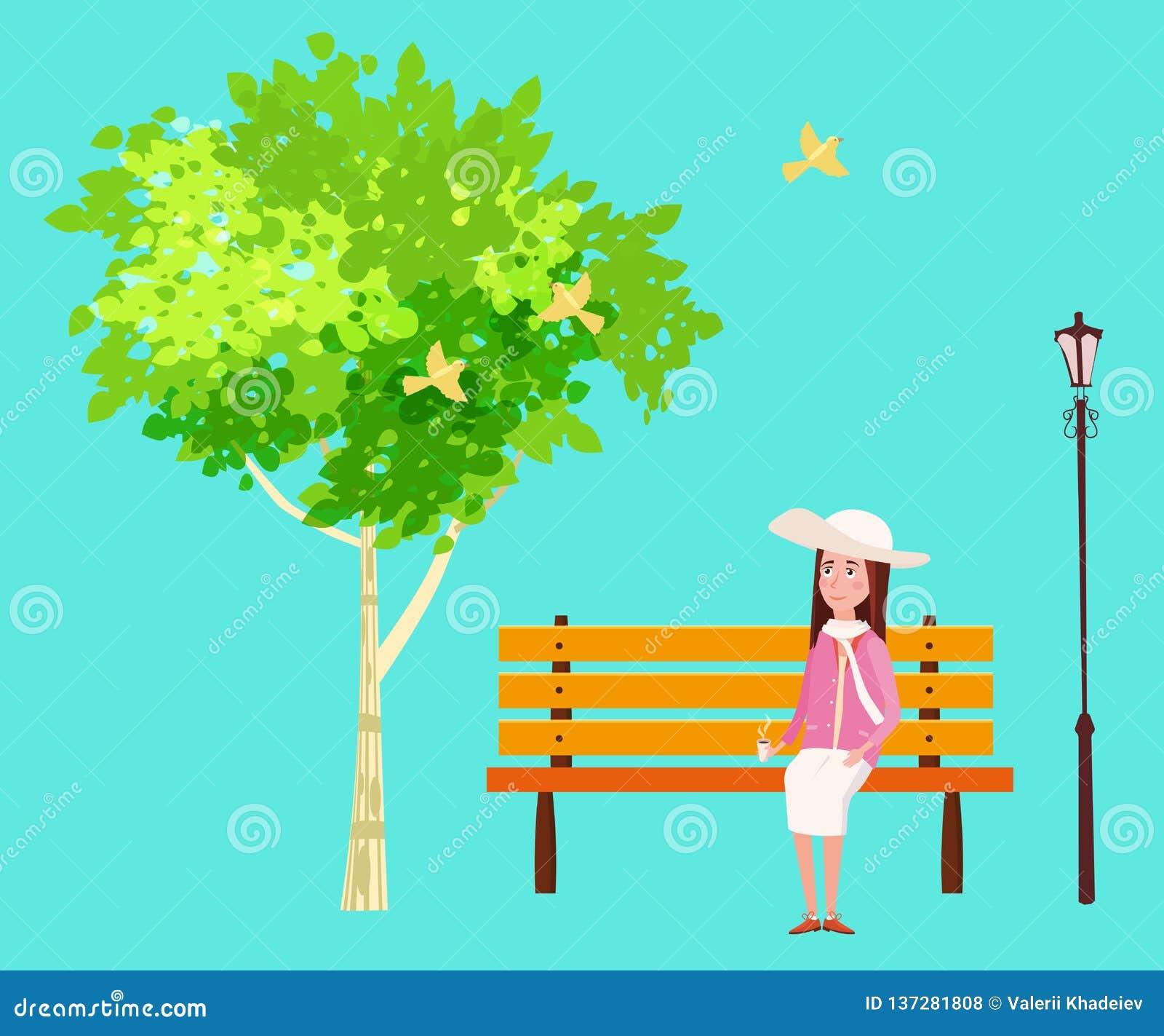 Vårlynnet, parkerar utomhus- Den sittande flickan på bänken drömmer sjunga för fåglar blå sky ljusa saftiga färger