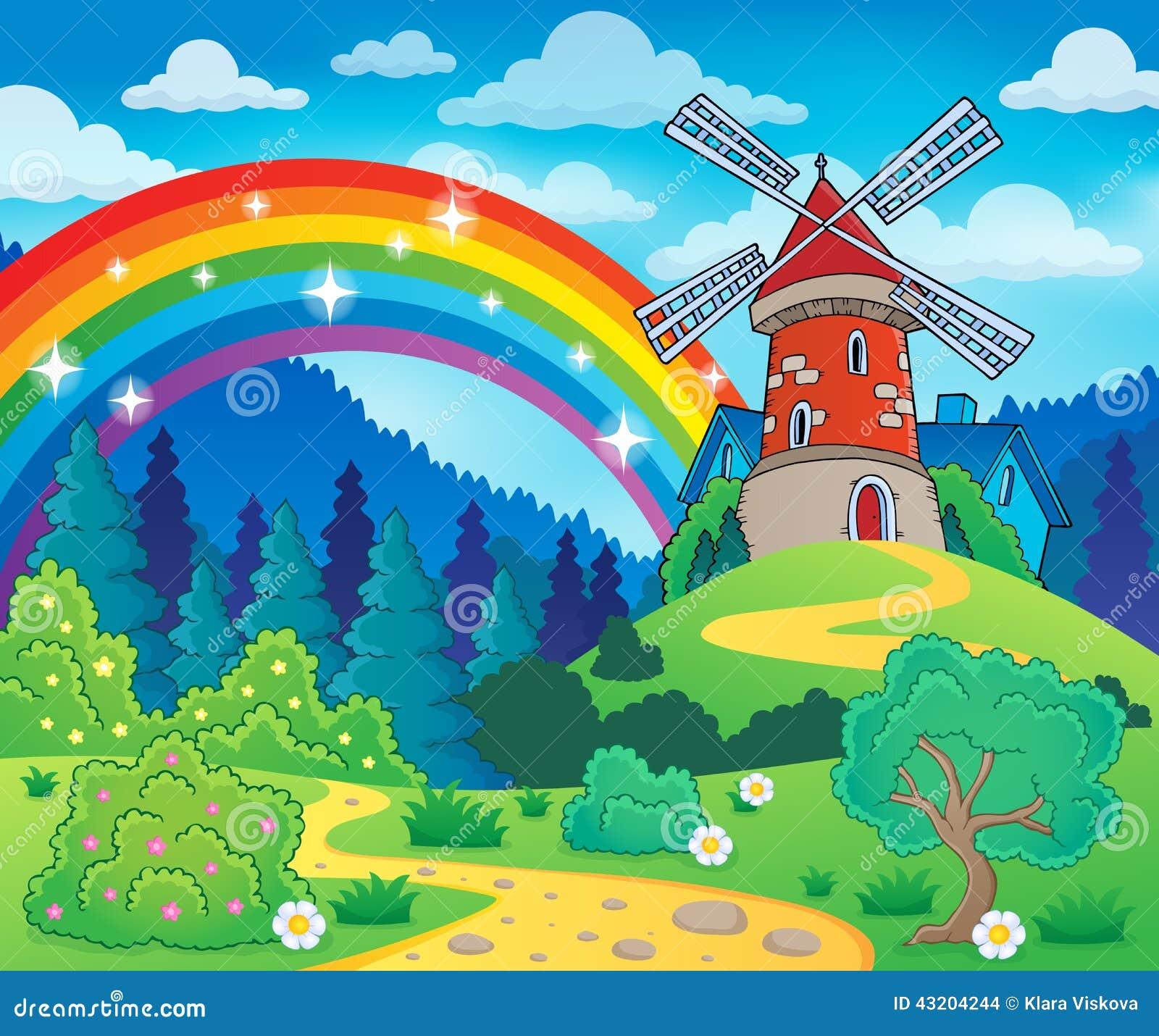 Download Vårtema med väderkvarnen vektor illustrationer. Illustration av bana - 43204244