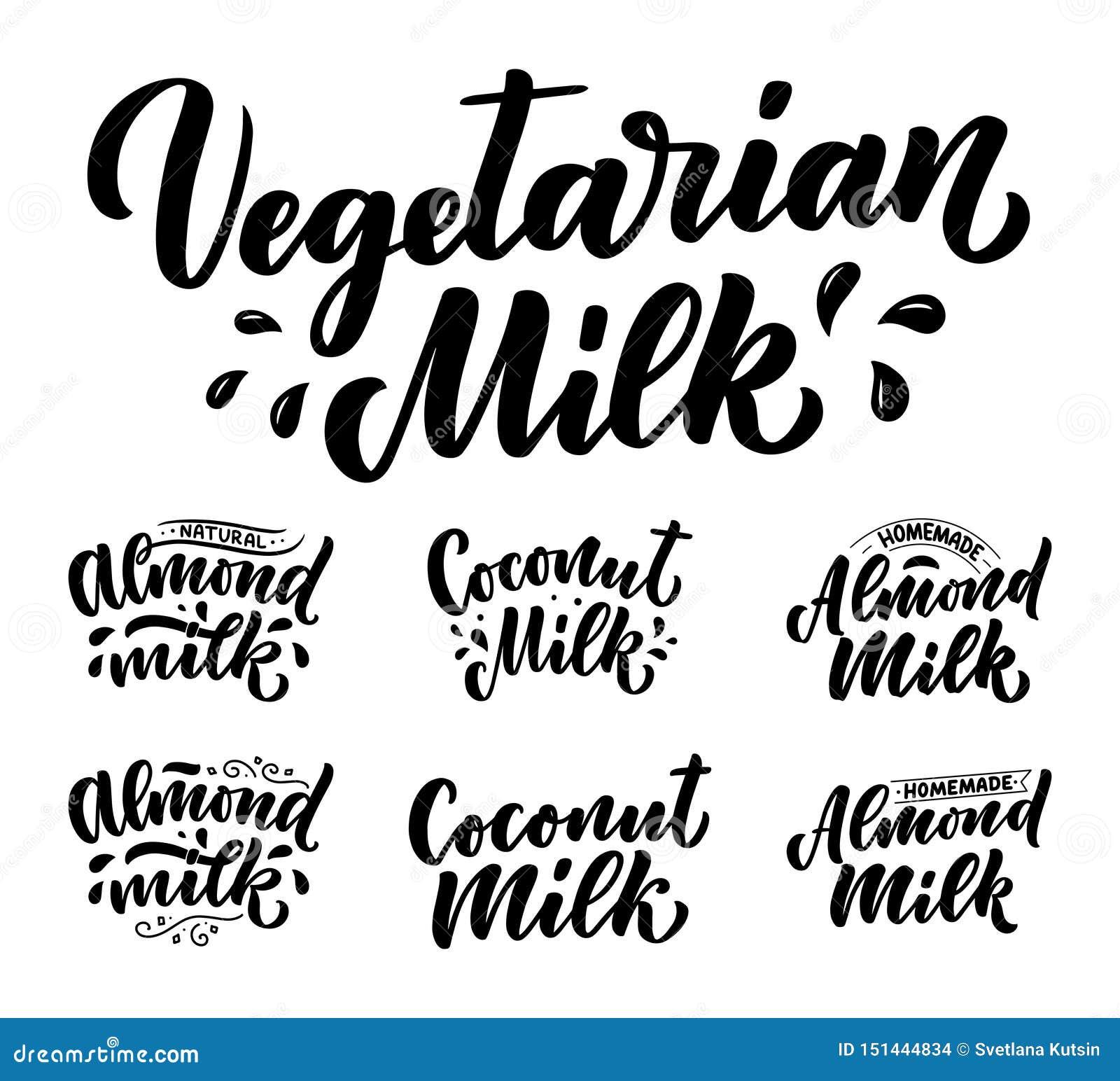 Végétarien, noix de coco, citations de lettrage de lait d amande pour la conception de bannière, de logo et d emballage Nourritur