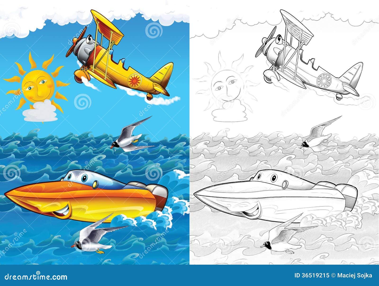 Véhicule de bande dessinée - page de coloration avec la prévision