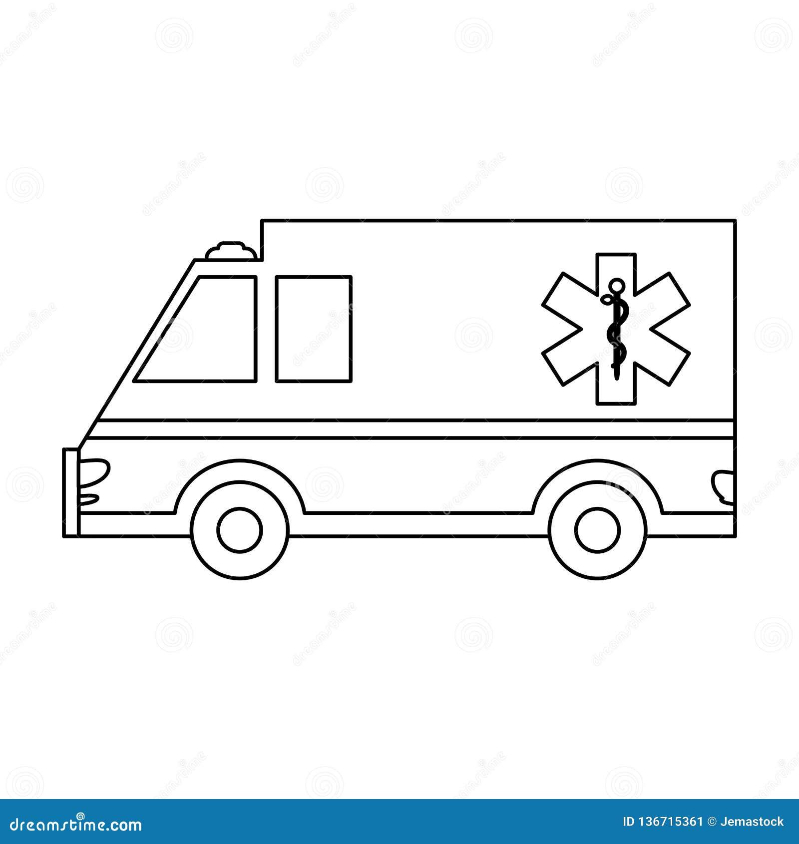 Véhicule médical d ambulance noir et blanc