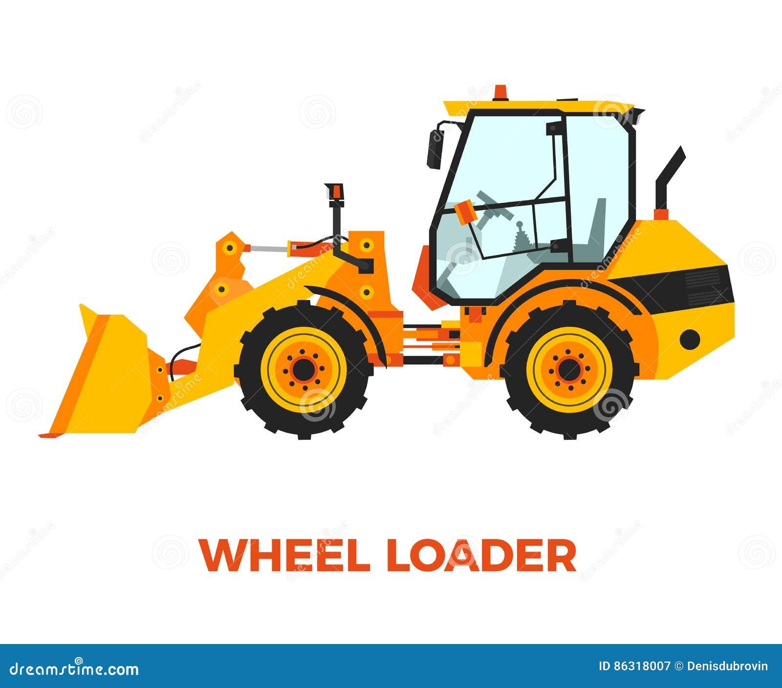 Véhicule orange de construction de chargeur de roue sur un fond blanc