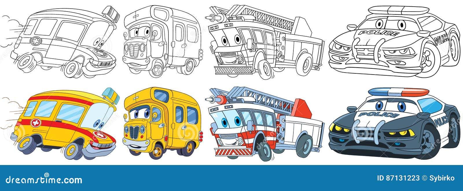 Vehicules De Dessin Anime Regles Illustration De Vecteur