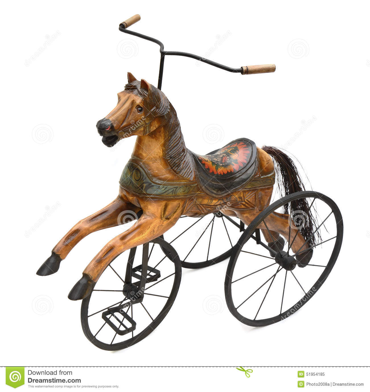 V lo en bois antique de tricycle de cheval image stock for Multiplication cheval