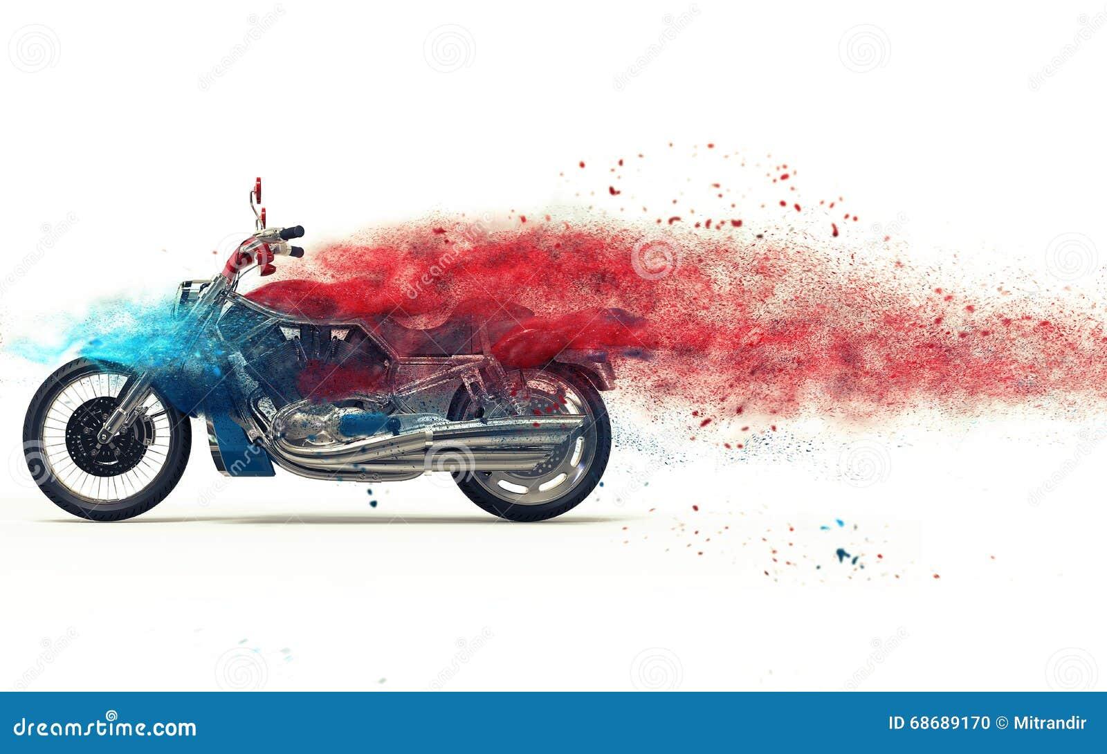 Vélo rouge - dispersion de particules