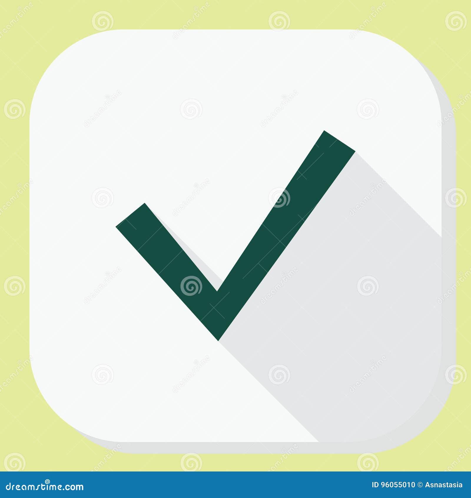 Vérifiez l icône de coutil avec la longue ombre L information d interface d application et conception d avis Illustration Style p