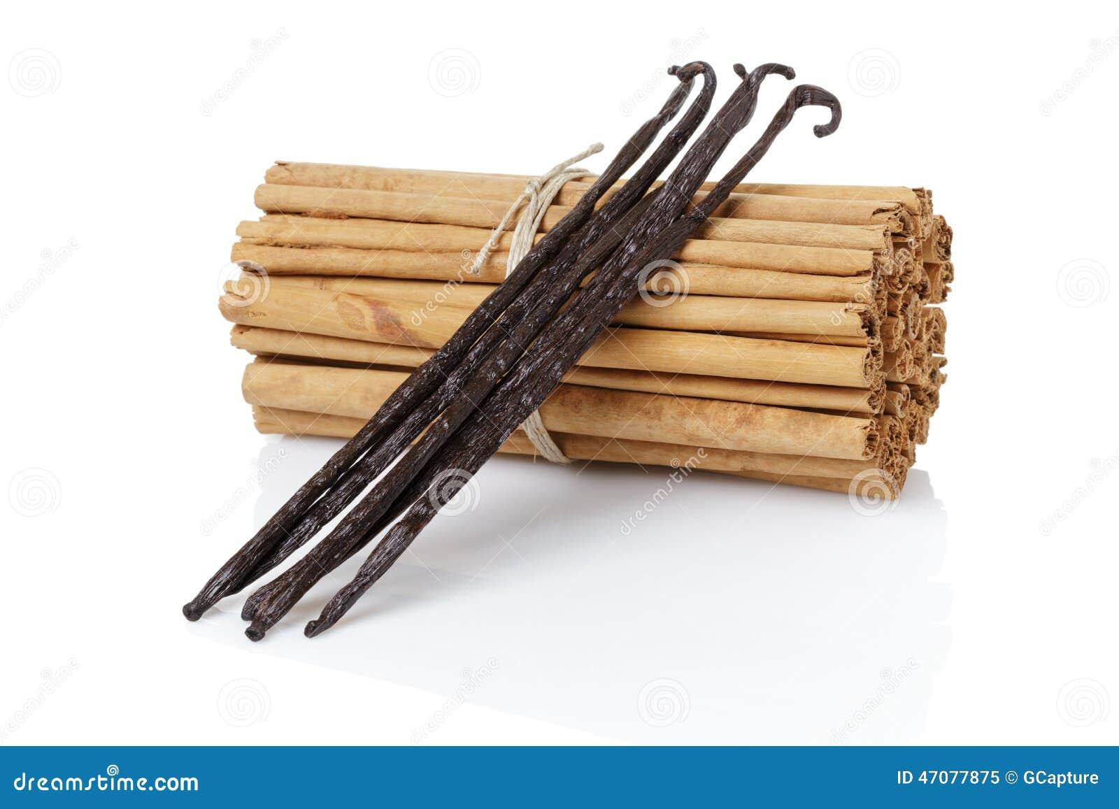 v ritables b tons de cannelle attach s de la ceylan avec la vanille de bourbon image stock. Black Bedroom Furniture Sets. Home Design Ideas