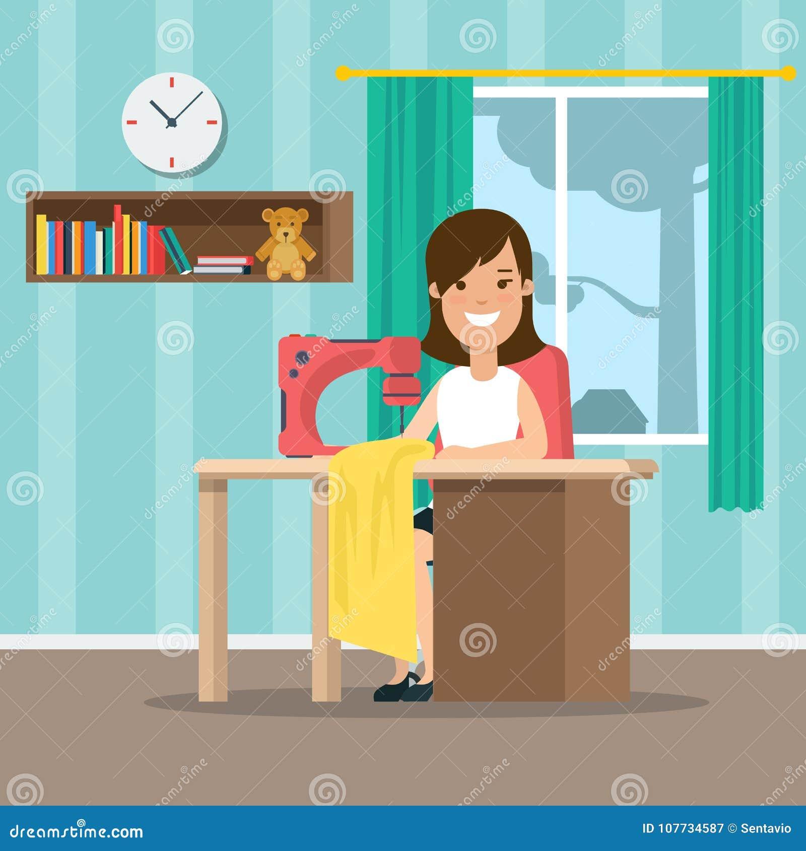 32ec732db6efe Illustration de couture des vêtements DIY de jeune femme plate Fait main et  faites-le vous-même concept d habillement Travail intérieur femelle d égout  ...