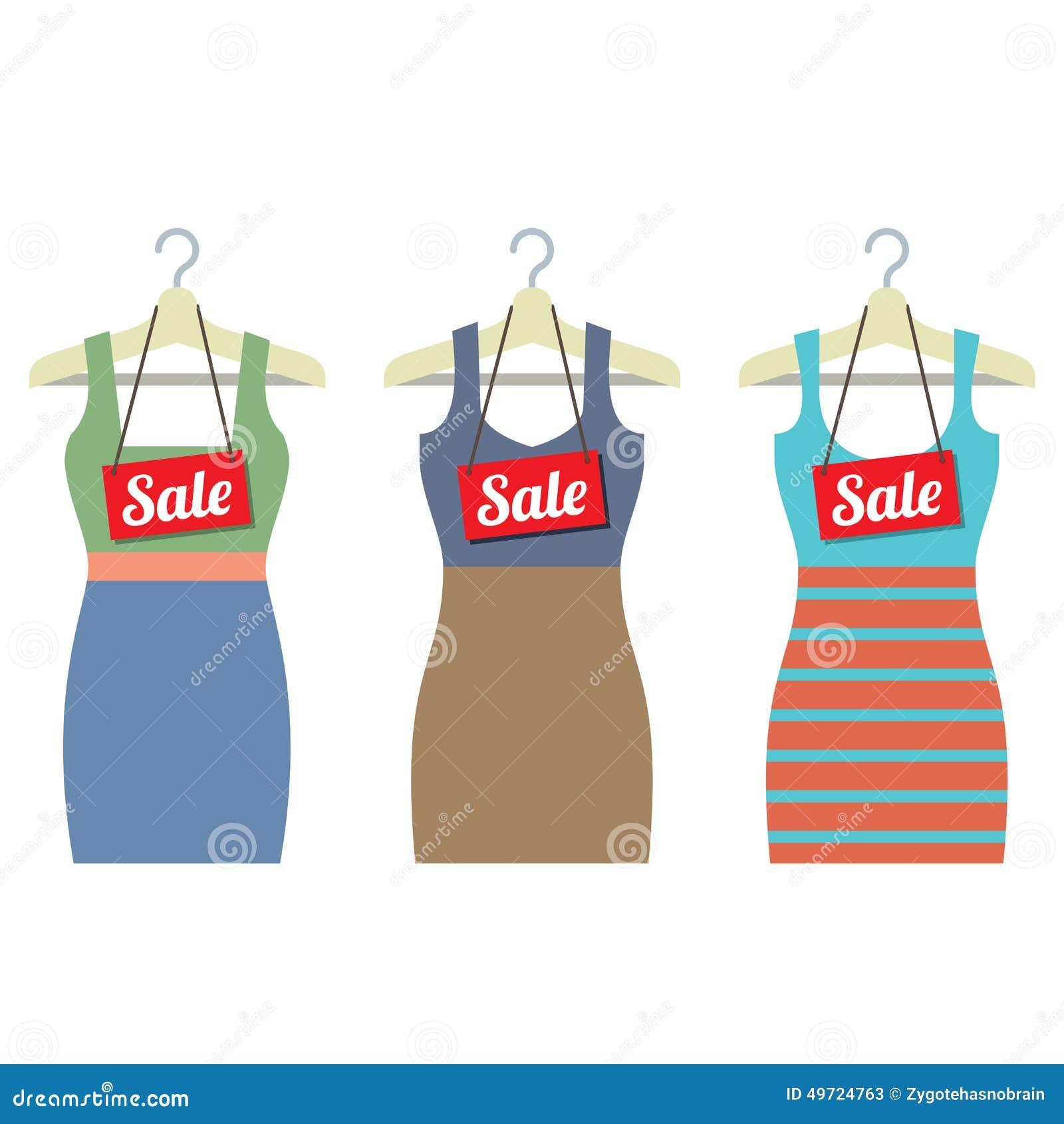 4c25f1cc3c6eb Les vêtements de femme sur le cintre avec la vente étiquette l'illustration  de vecteur