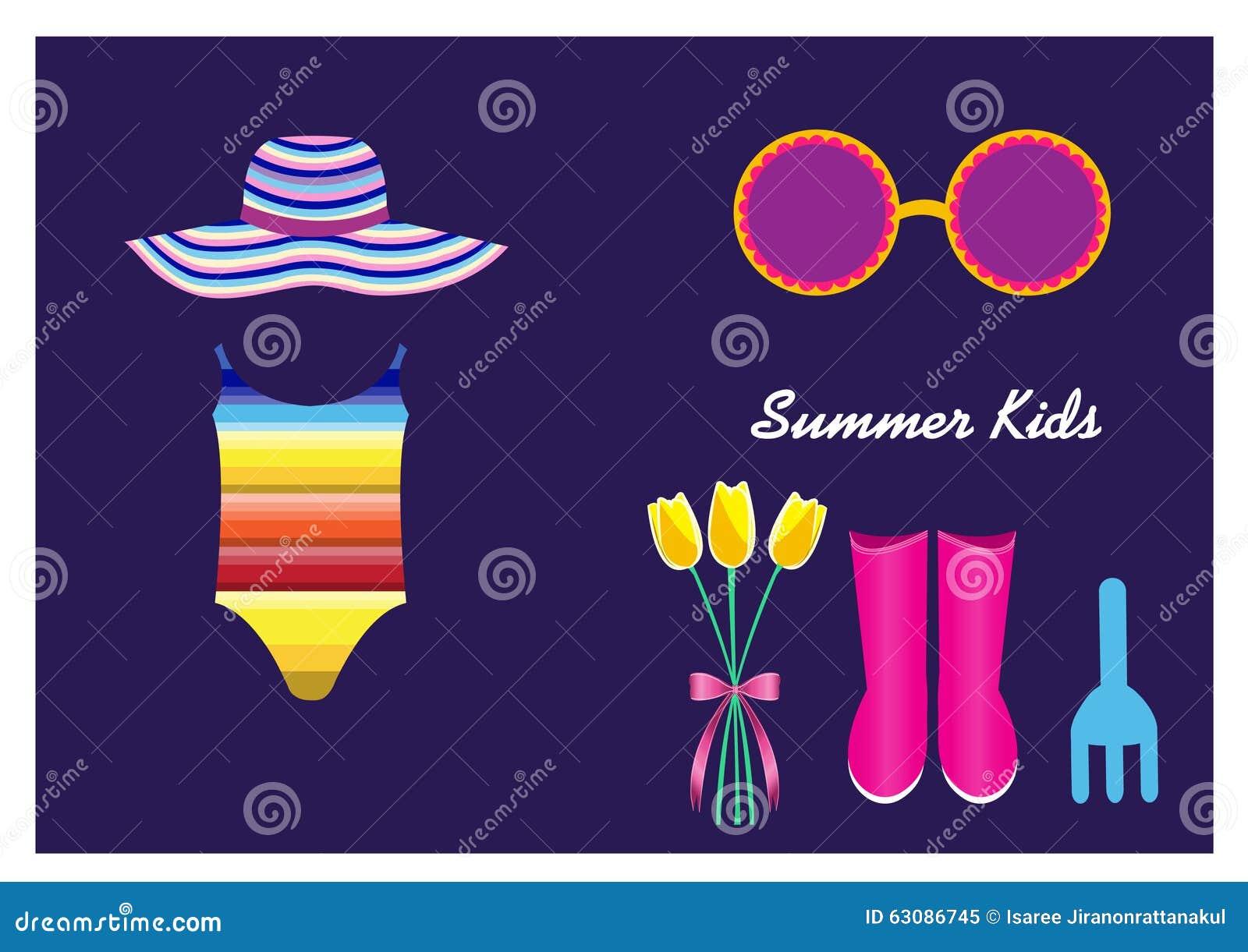 Download Vêtements De L'été De L'enfant Sur Les Milieux Pourpres Illustration Stock - Illustration du gosse, gosses: 63086745