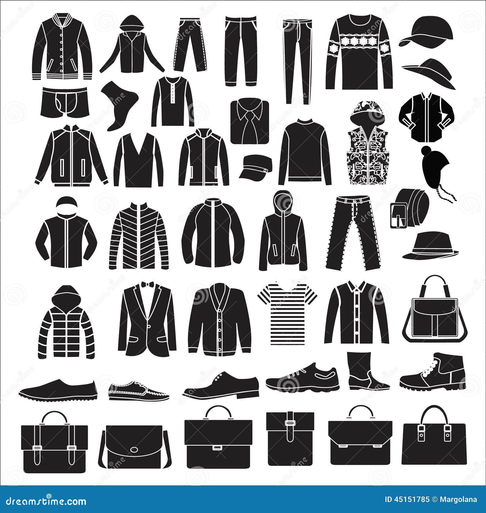 Vêtements de la mode des hommes et accessoires - illustration