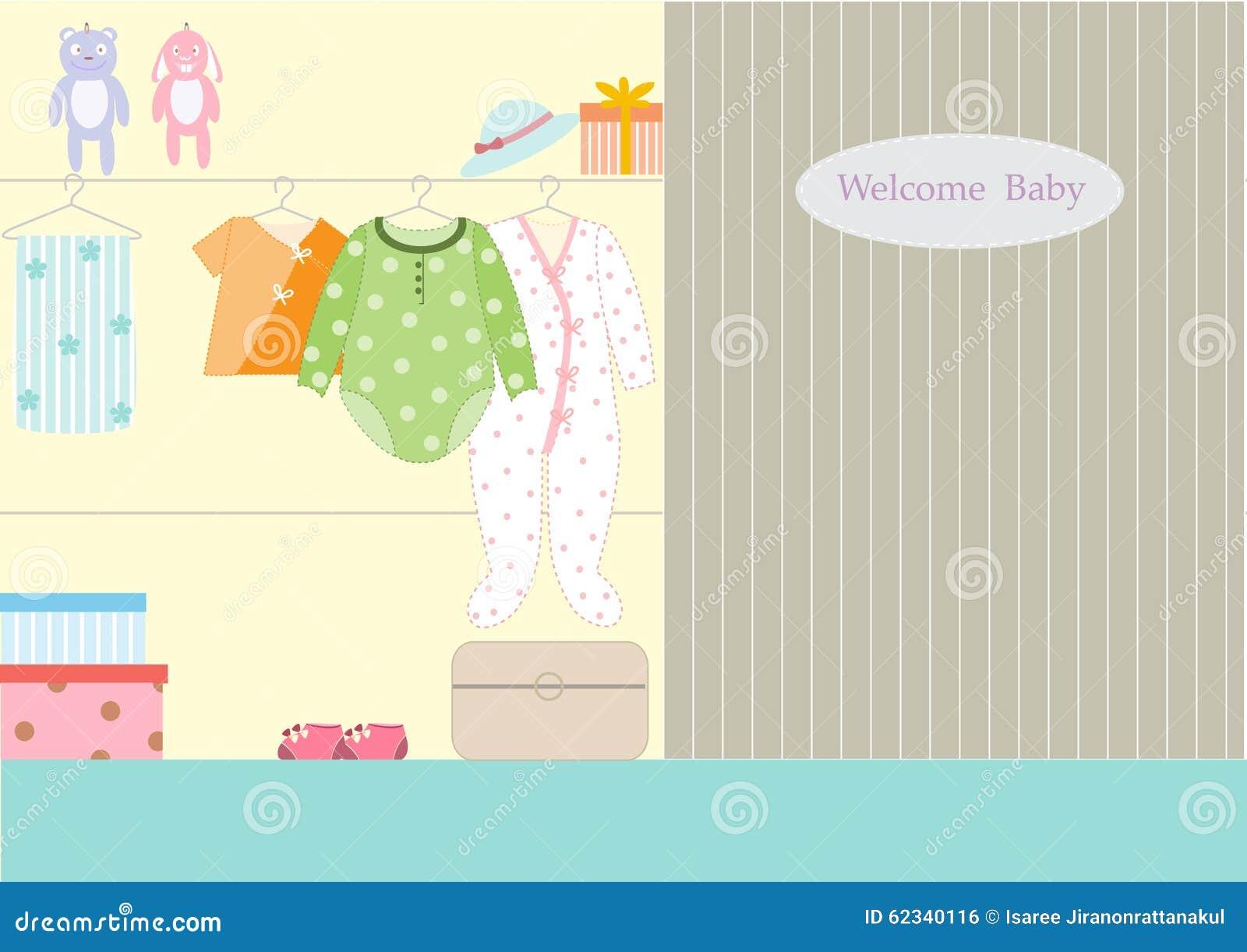 Vetements Pour Le Bebe Dans La Garde Robe Illustrations