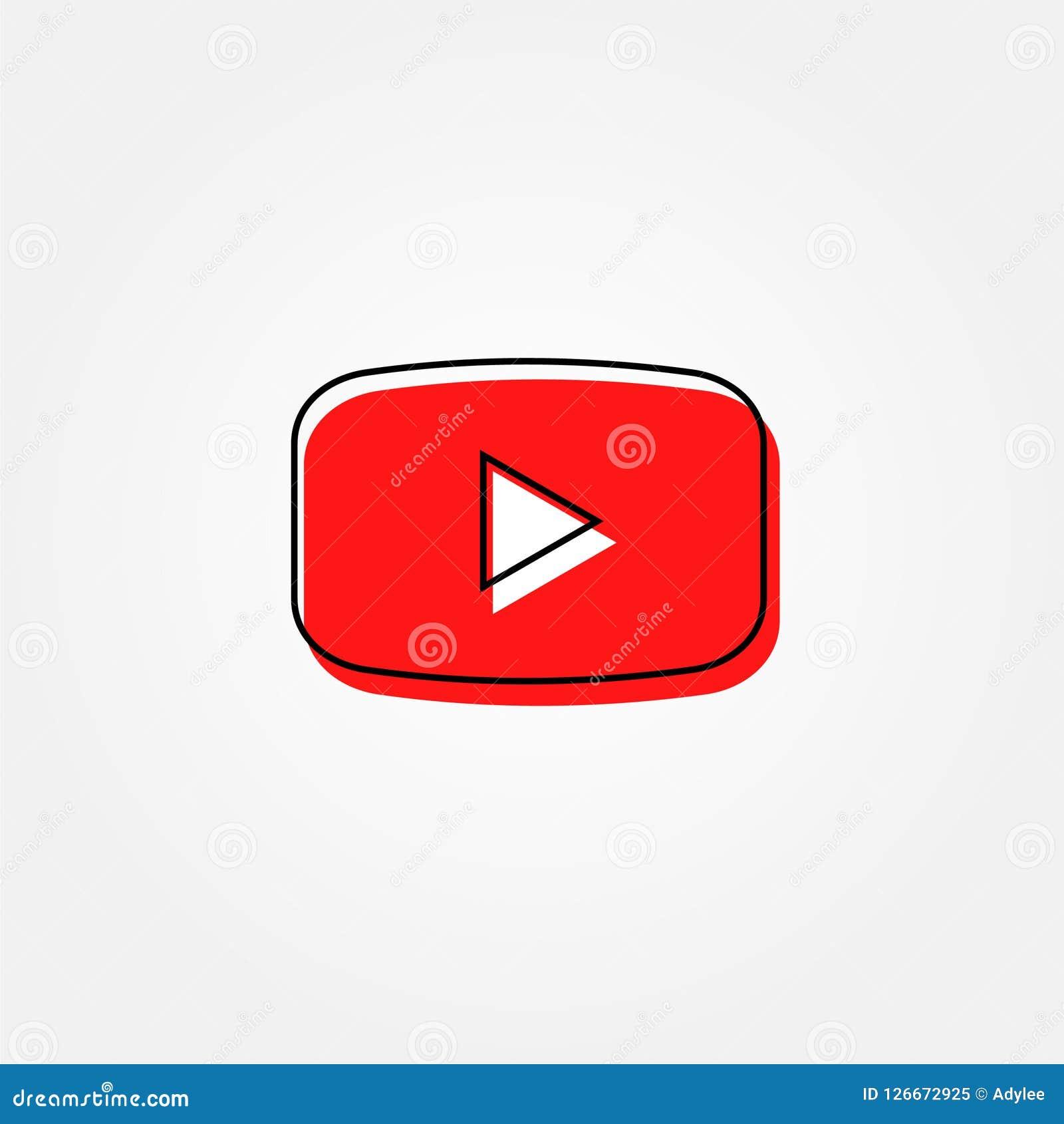 Vídeo conservado em estoque de youtube do botão vermelho do vetor com linha estilo da beira