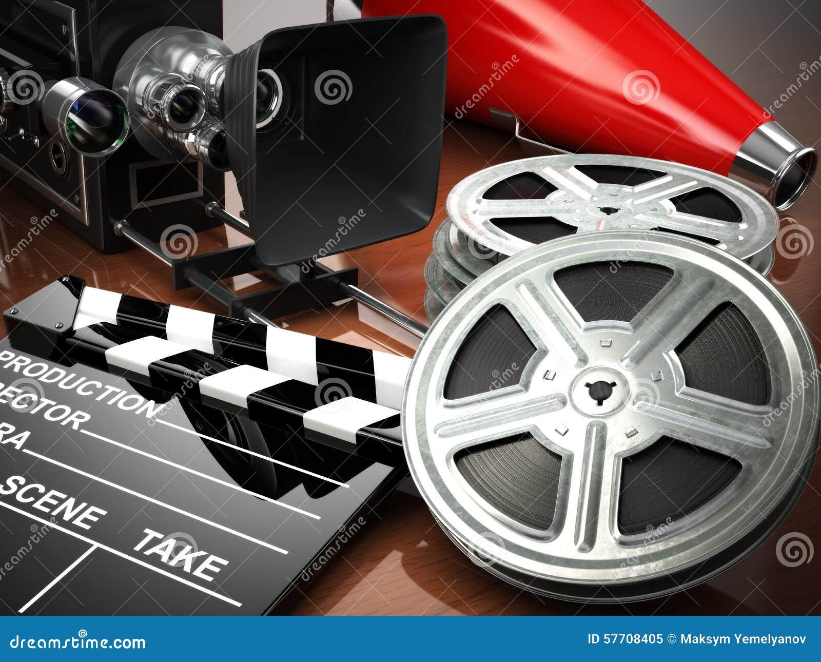 Vídeo, filme, conceito do vintage do cinema Câmera retro, carretéis e cl