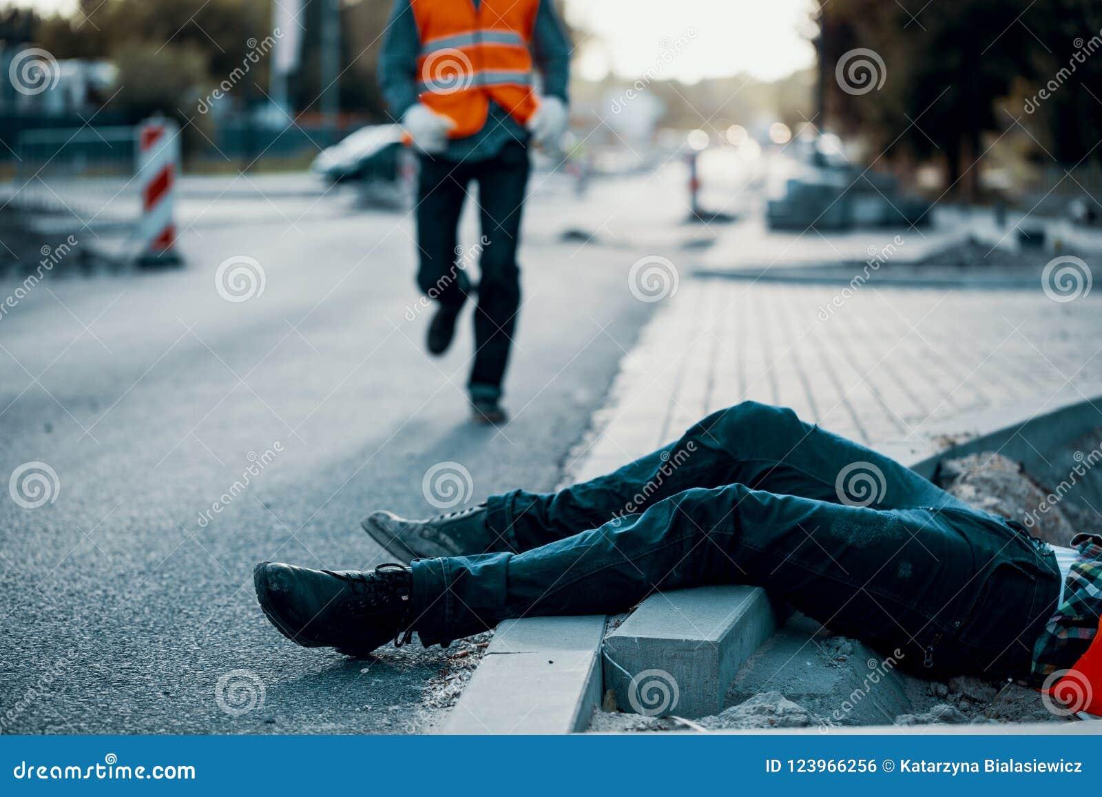 Vítima inoperante durante roadworks Não-conformidade com saúde e saf