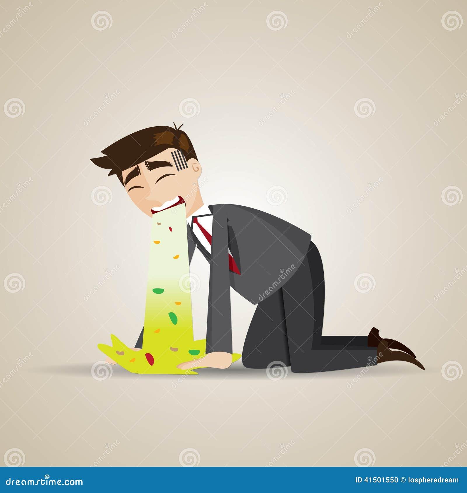 Vómito del hombre de negocios de la historieta en piso