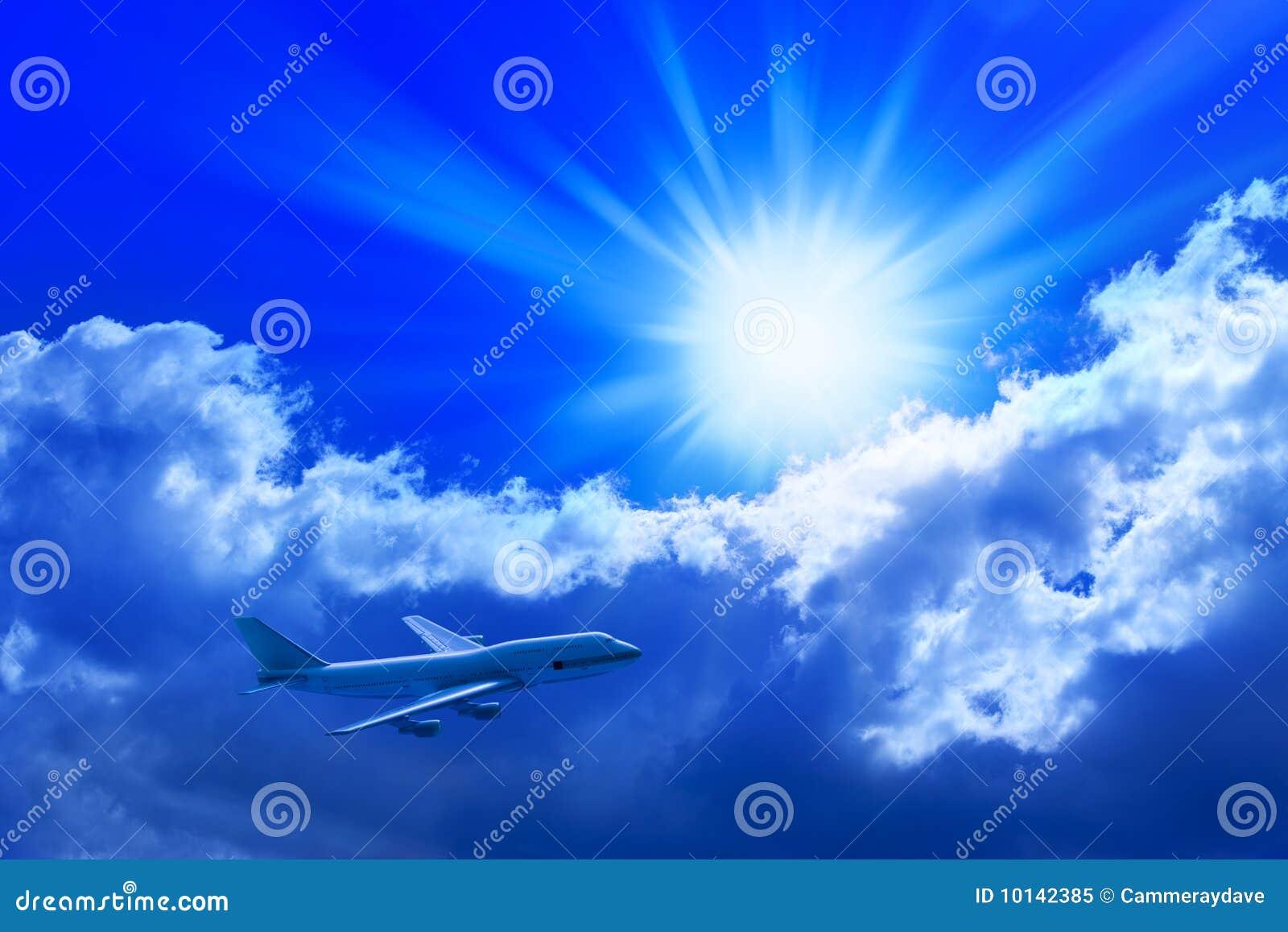 Vôo do avião através do céu