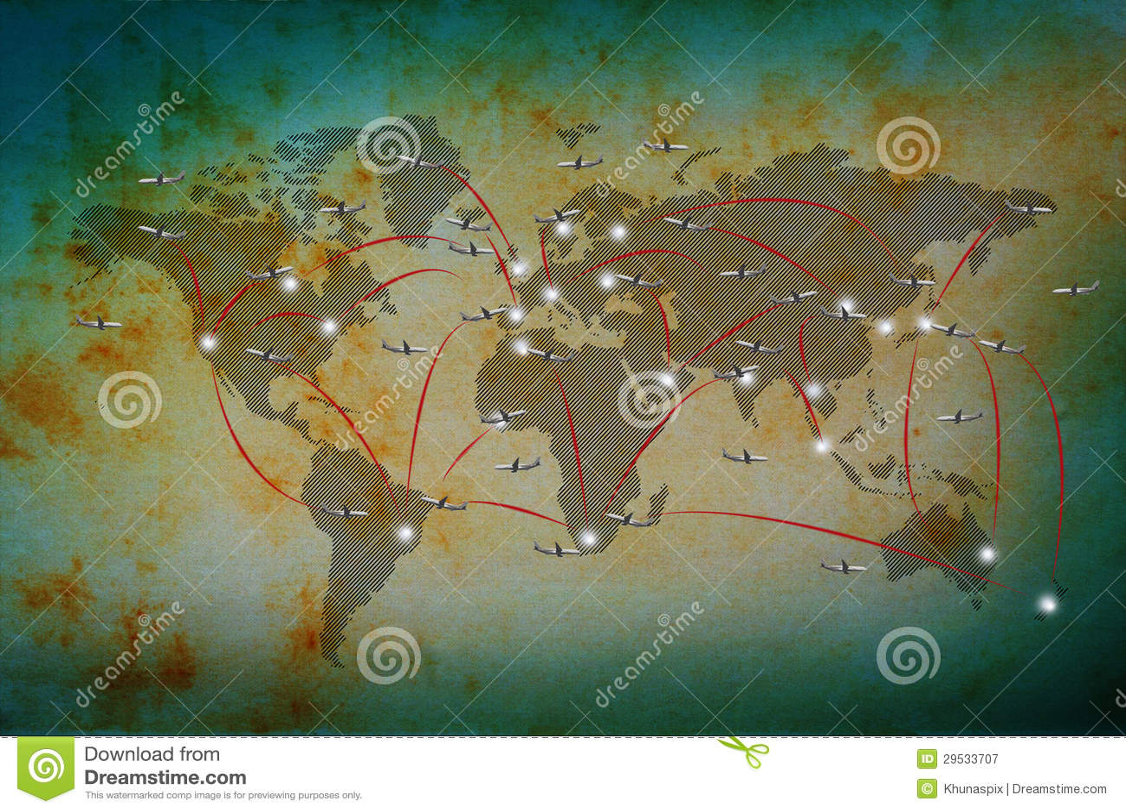Vôo do plano de ar no mapa do mundo clássico