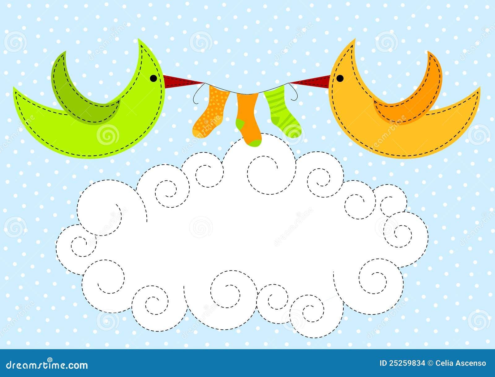 Vögel auf Wolken-Schätzchen-Dusche-Einladung