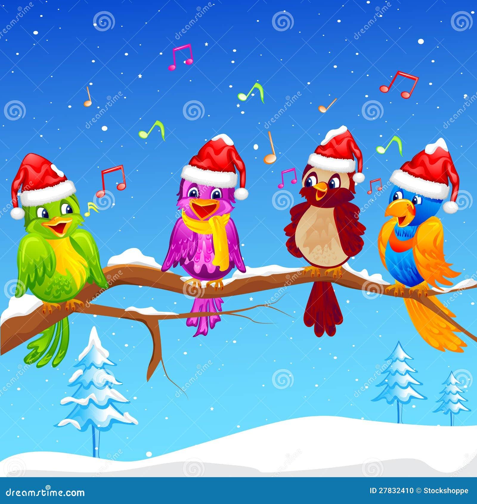Vögel, Die Weihnachten Carol Singen Stock Abbildung - Illustration ...