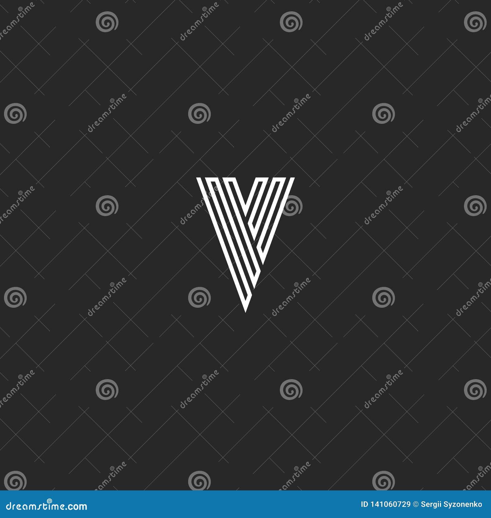 V商标信件最初组合图案,稀薄的线黑白最小的设计元素名片象征想法,简单的条纹行家