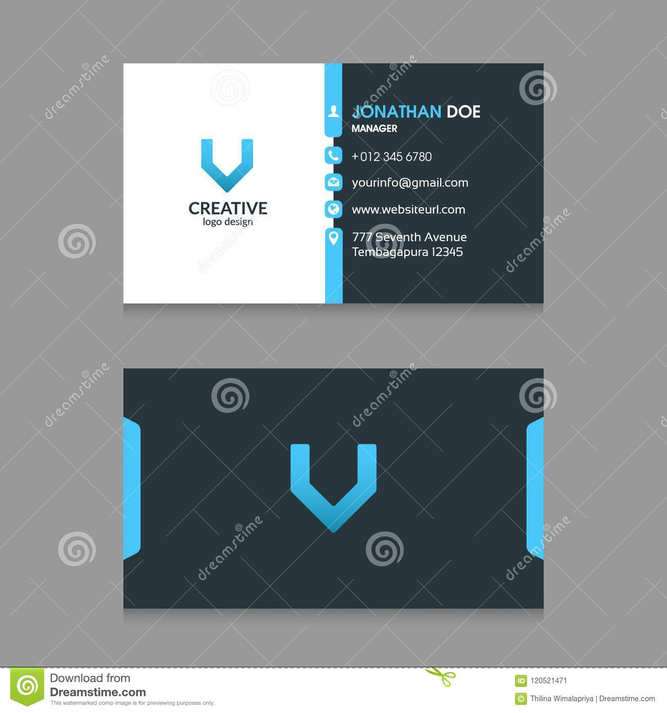 V abstract letter logo with modern corporate business card design professional and clean structured blue color modern corporate business card design template front and back accmission Gallery